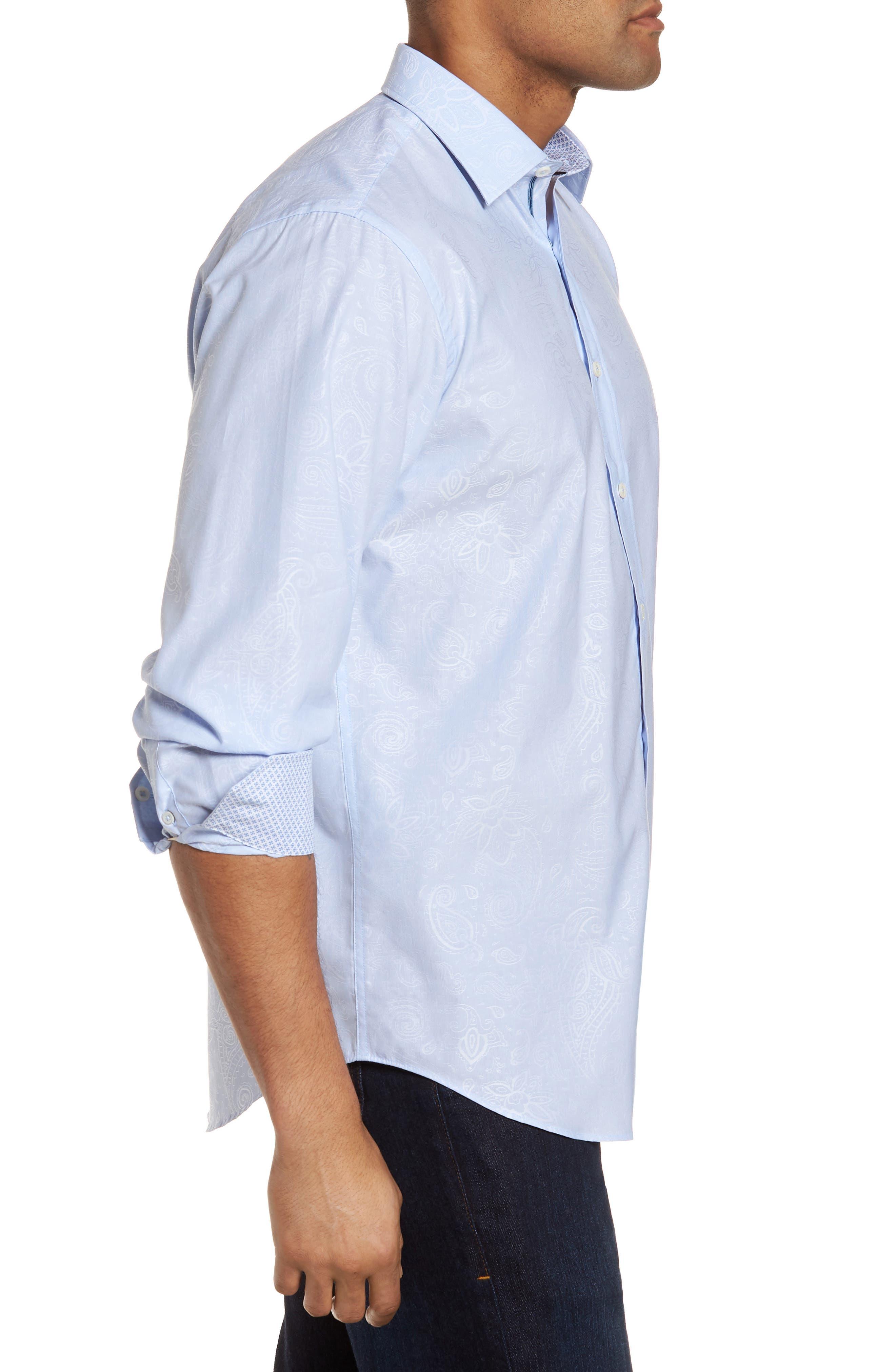 Classic Fit Woven Sport Shirt,                             Alternate thumbnail 3, color,                             Dusty Blue
