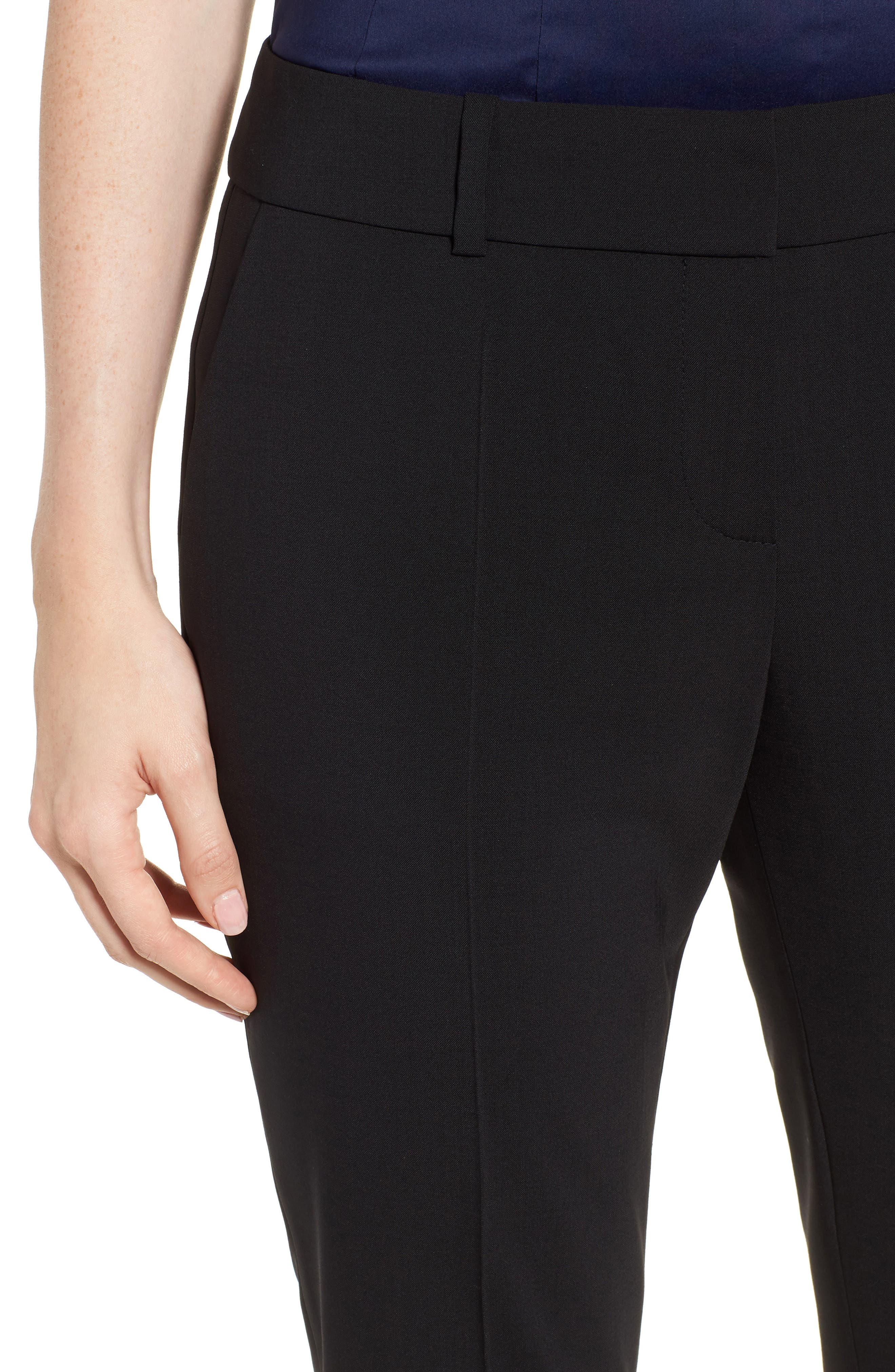 Talenara Tropical Stretch Wool Ankle Trousers,                             Alternate thumbnail 4, color,                             Black