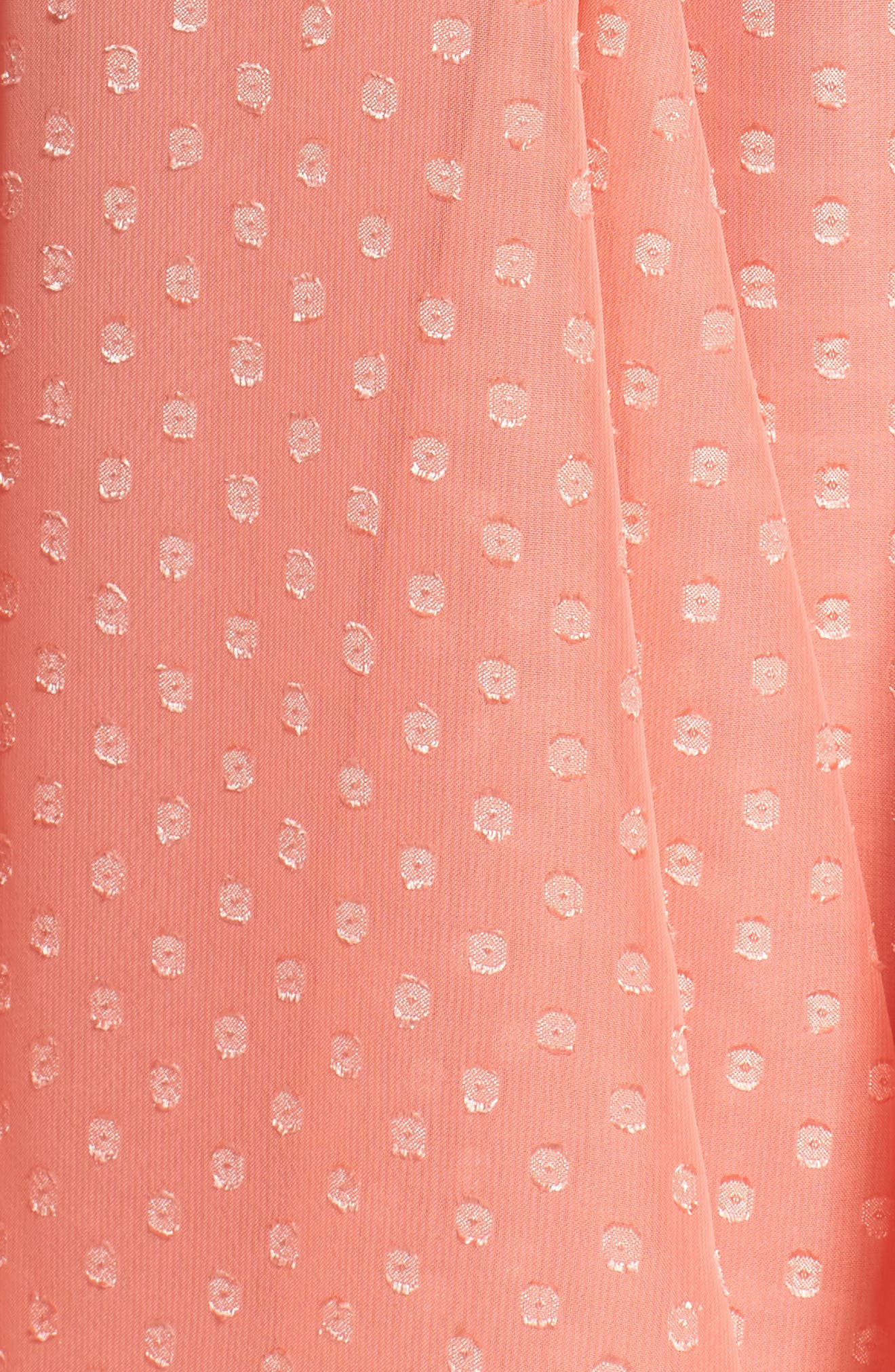 Split Sleeve Swiss Dot Chiffon Faux Wrap Dress,                             Alternate thumbnail 5, color,                             Soft Coral