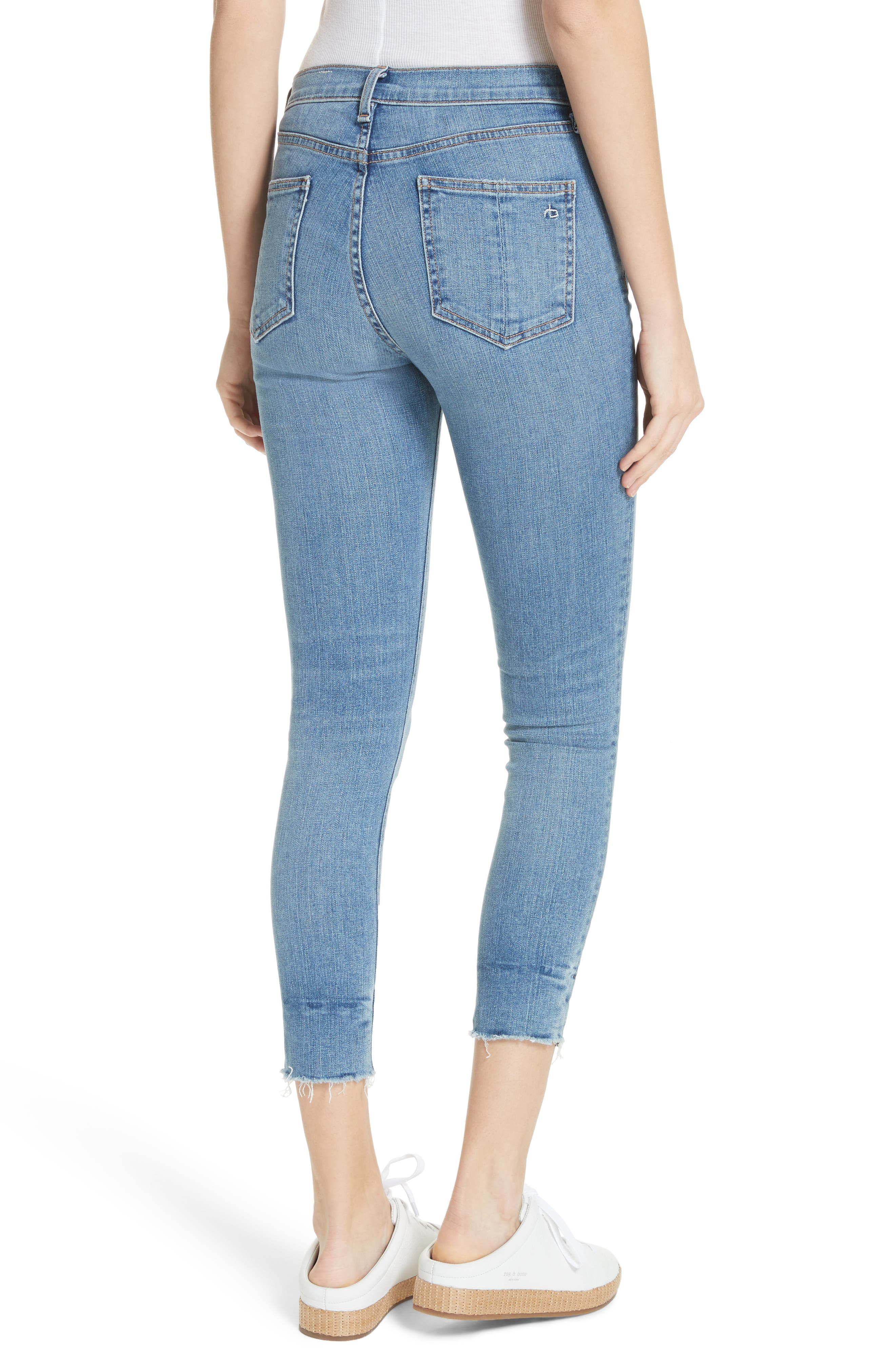 High Waist Ankle Skinny Jeans,                             Alternate thumbnail 3, color,                             Levee