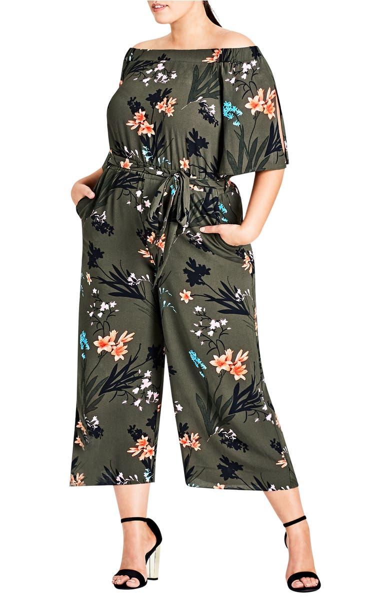 Jungle Print Crop Jumpsuit,                         Main,                         color, Jungle Floral