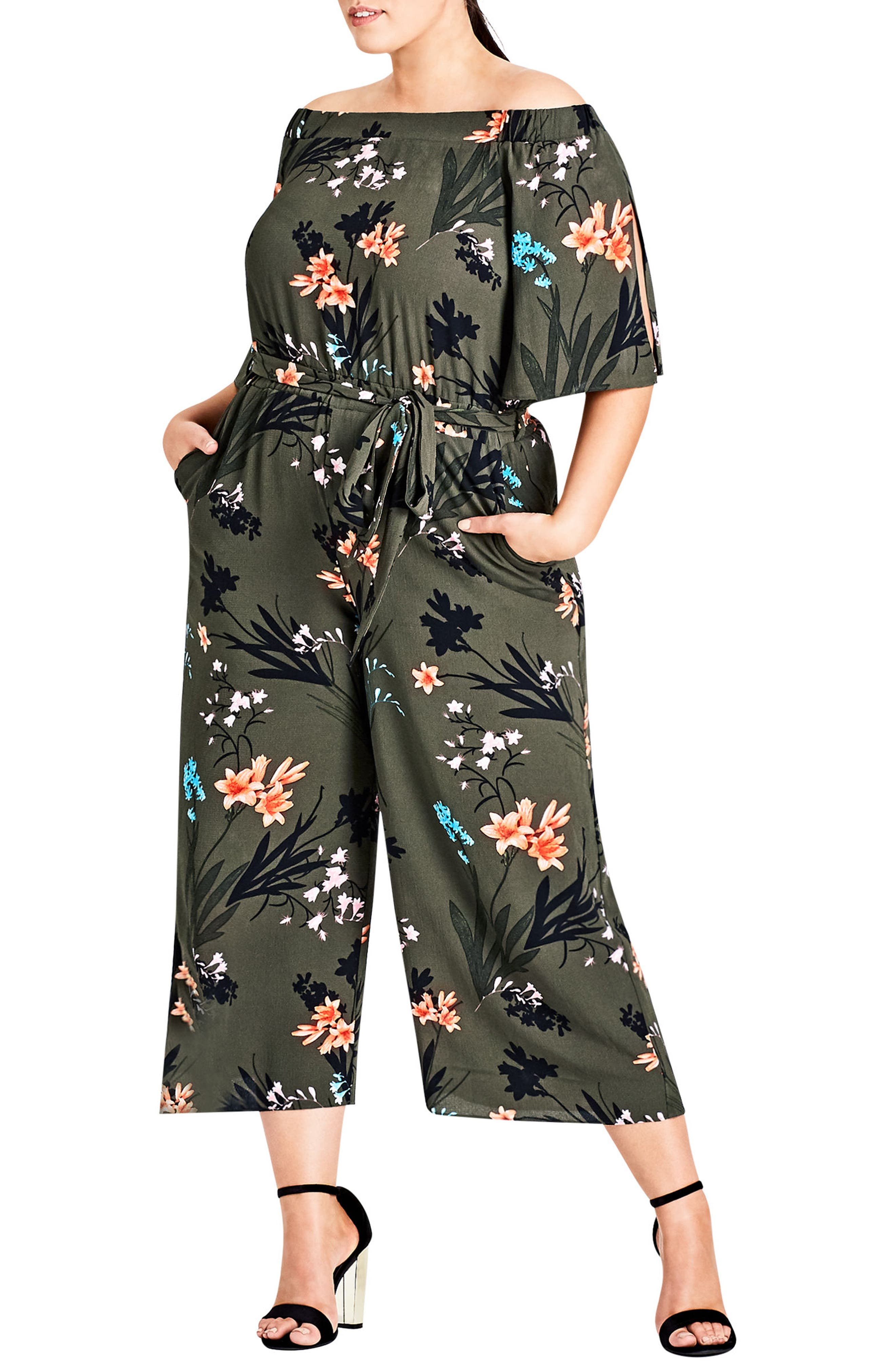 City Chic Jungle Print Crop Jumpsuit (Plus Size)
