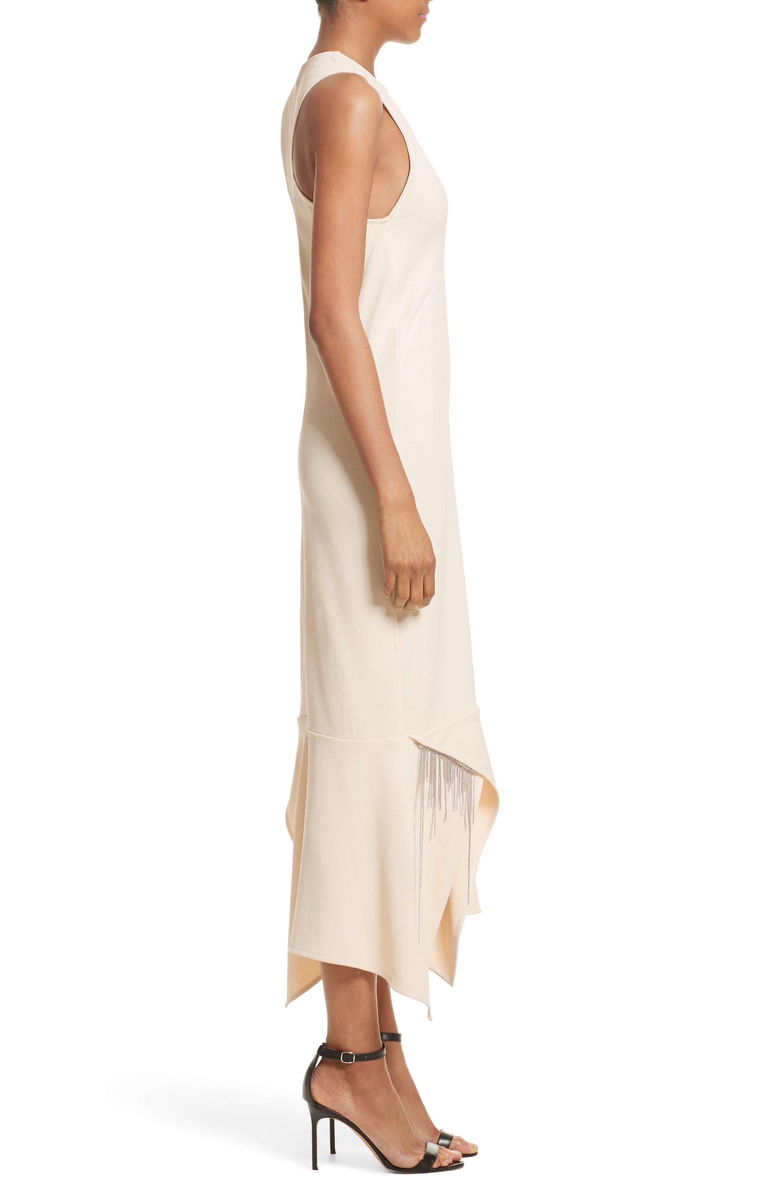 Handkerchief Hem Racerback Dress,                             Alternate thumbnail 3, color,                             Cream