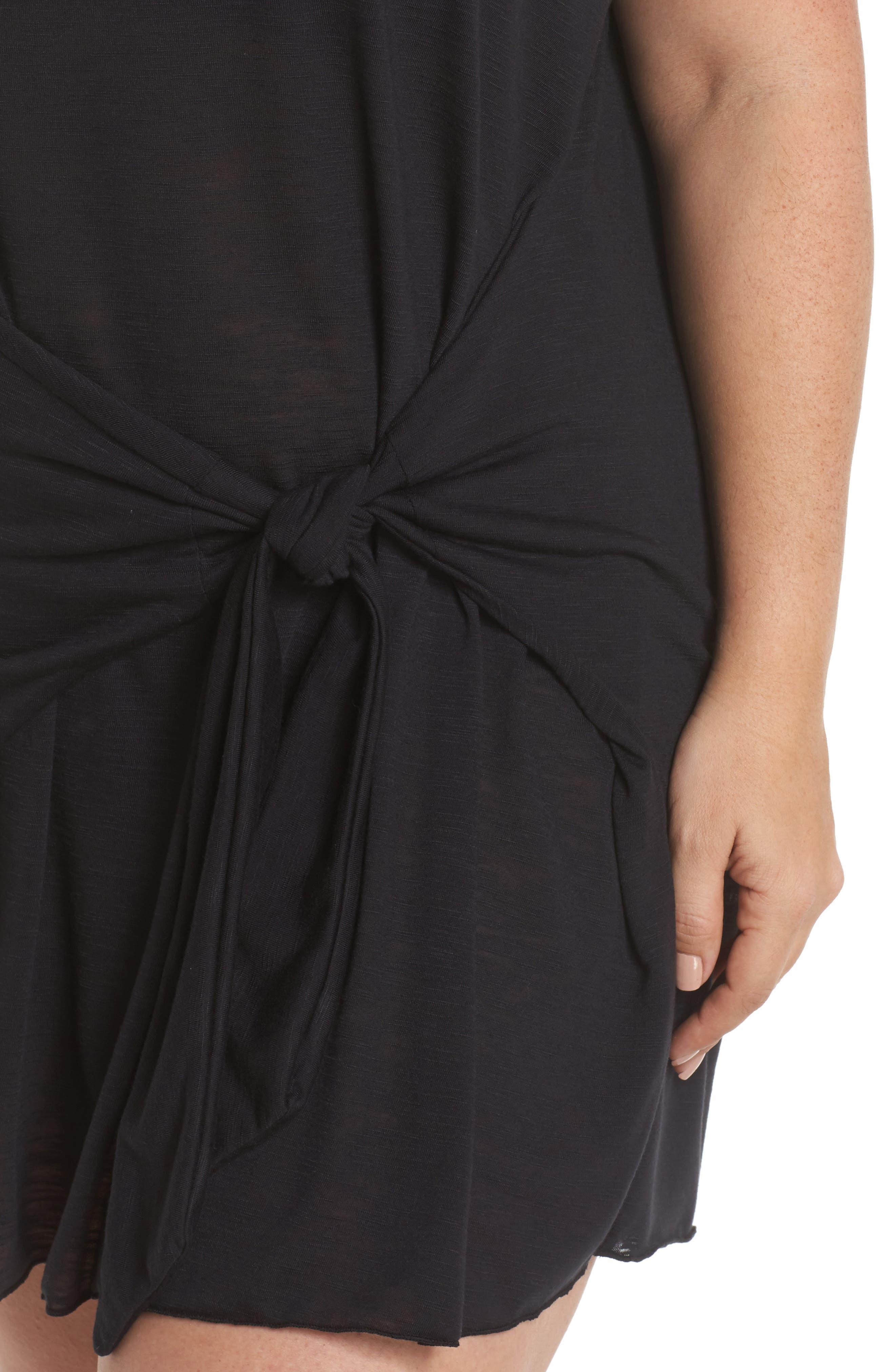 Breezy Basic Cover-Up Dress,                             Alternate thumbnail 4, color,                             Black