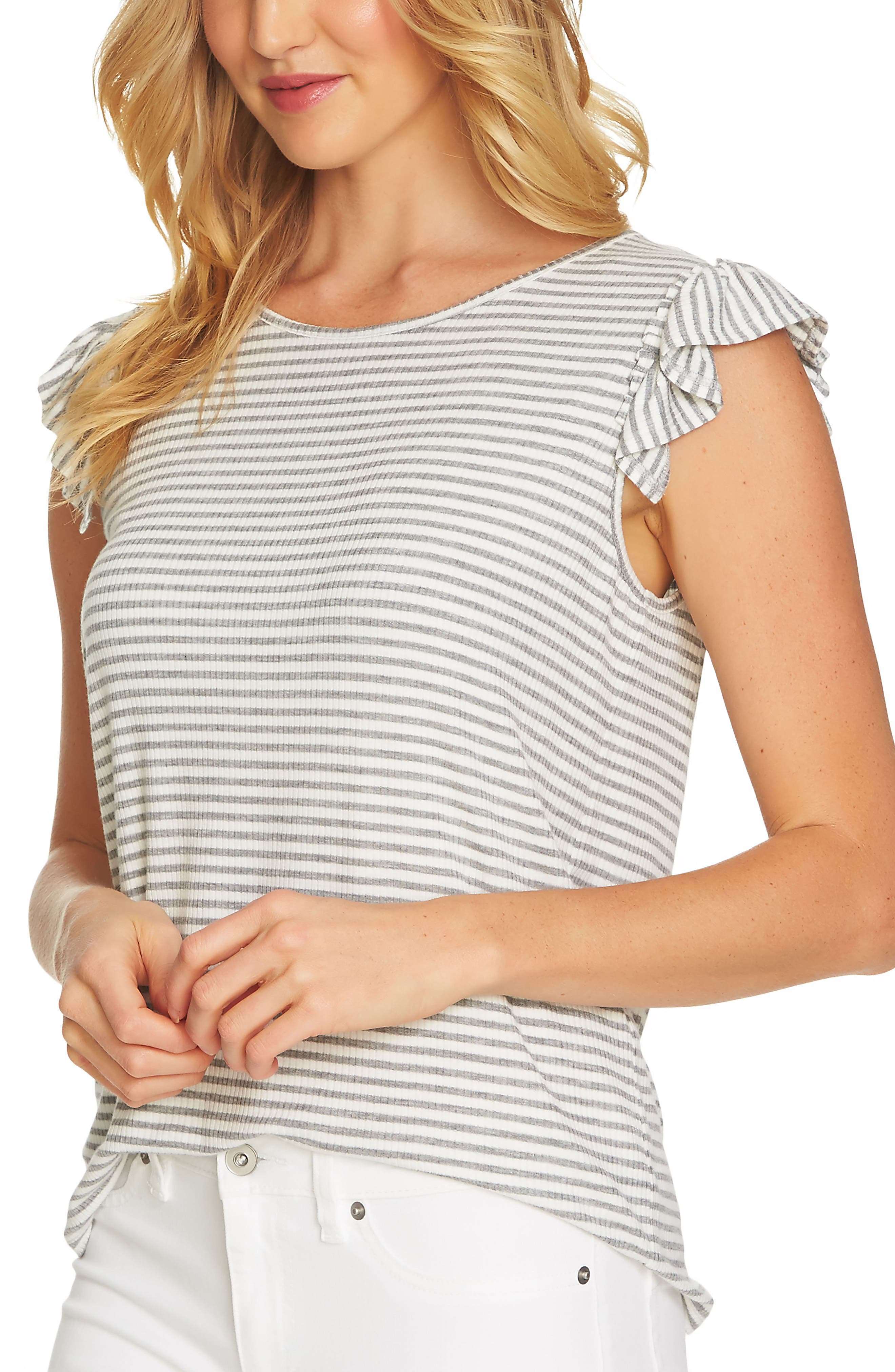 Alternate Image 1 Selected - CeCe Ruffle Sleeve Rib Knit Top