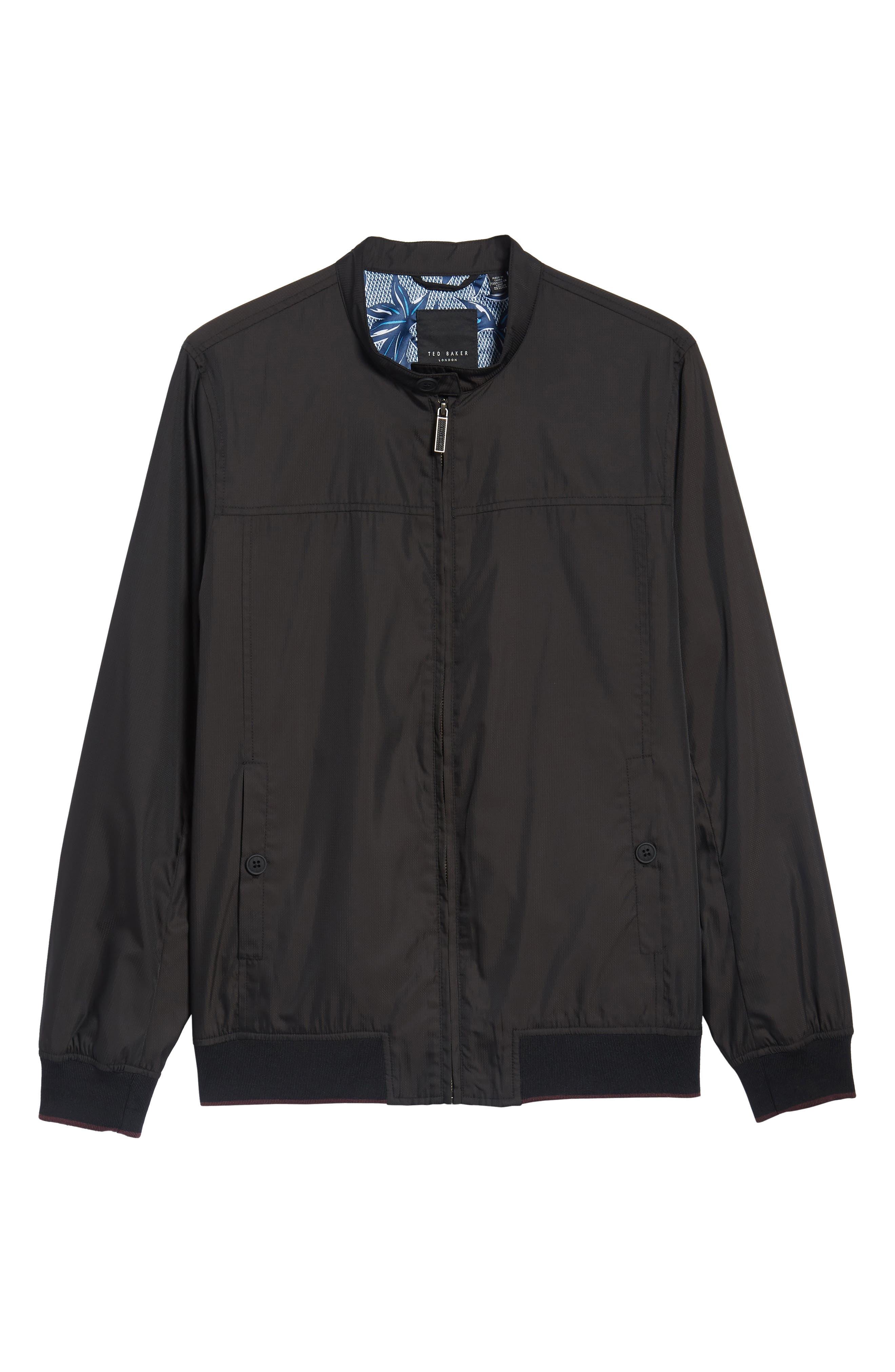 Calgar Nylon Bomber Jacket,                             Alternate thumbnail 6, color,                             Black