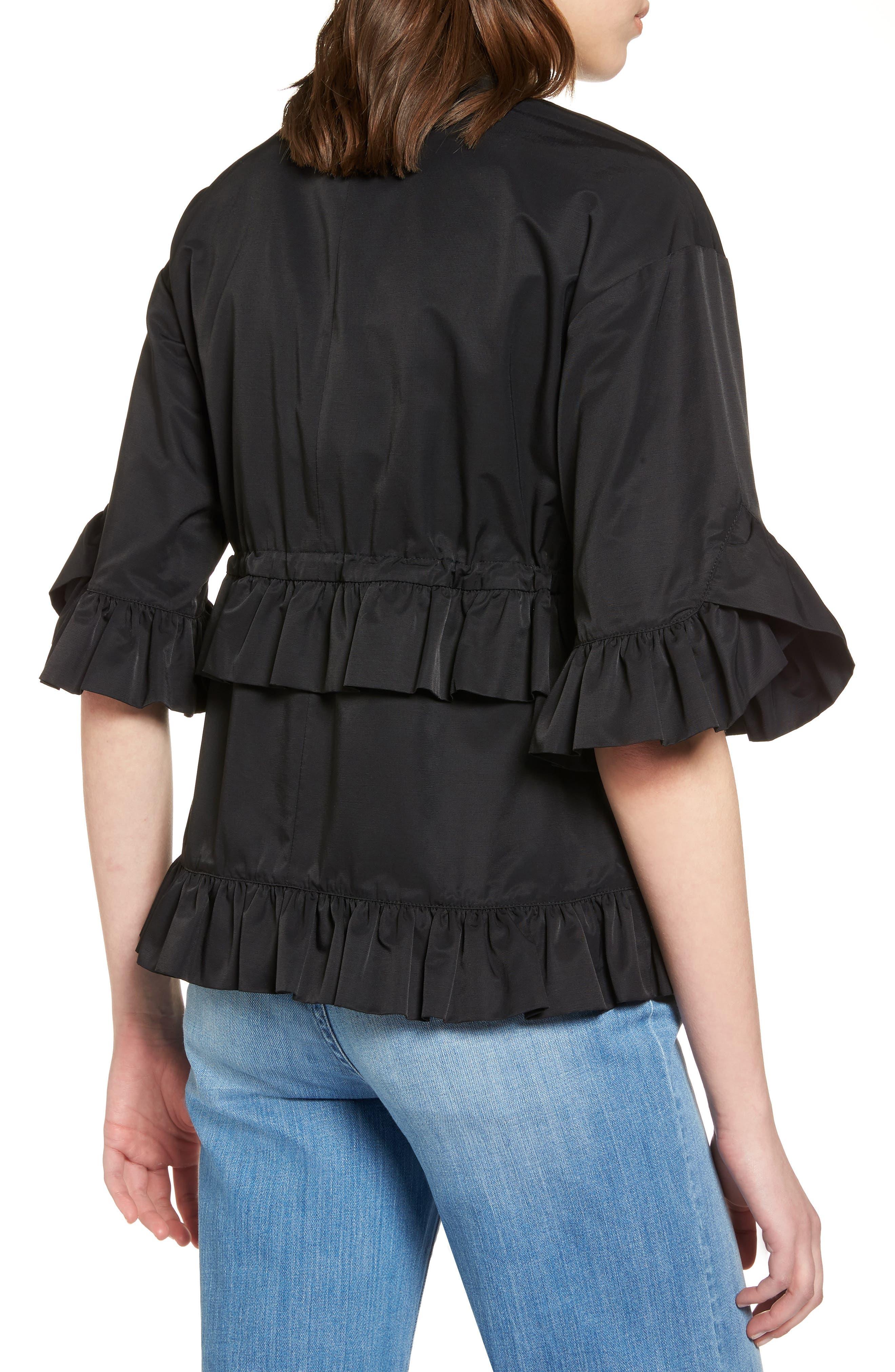 Alternate Image 2  - Halogen® Ruffle Zip Jacket (Regular & Petite)