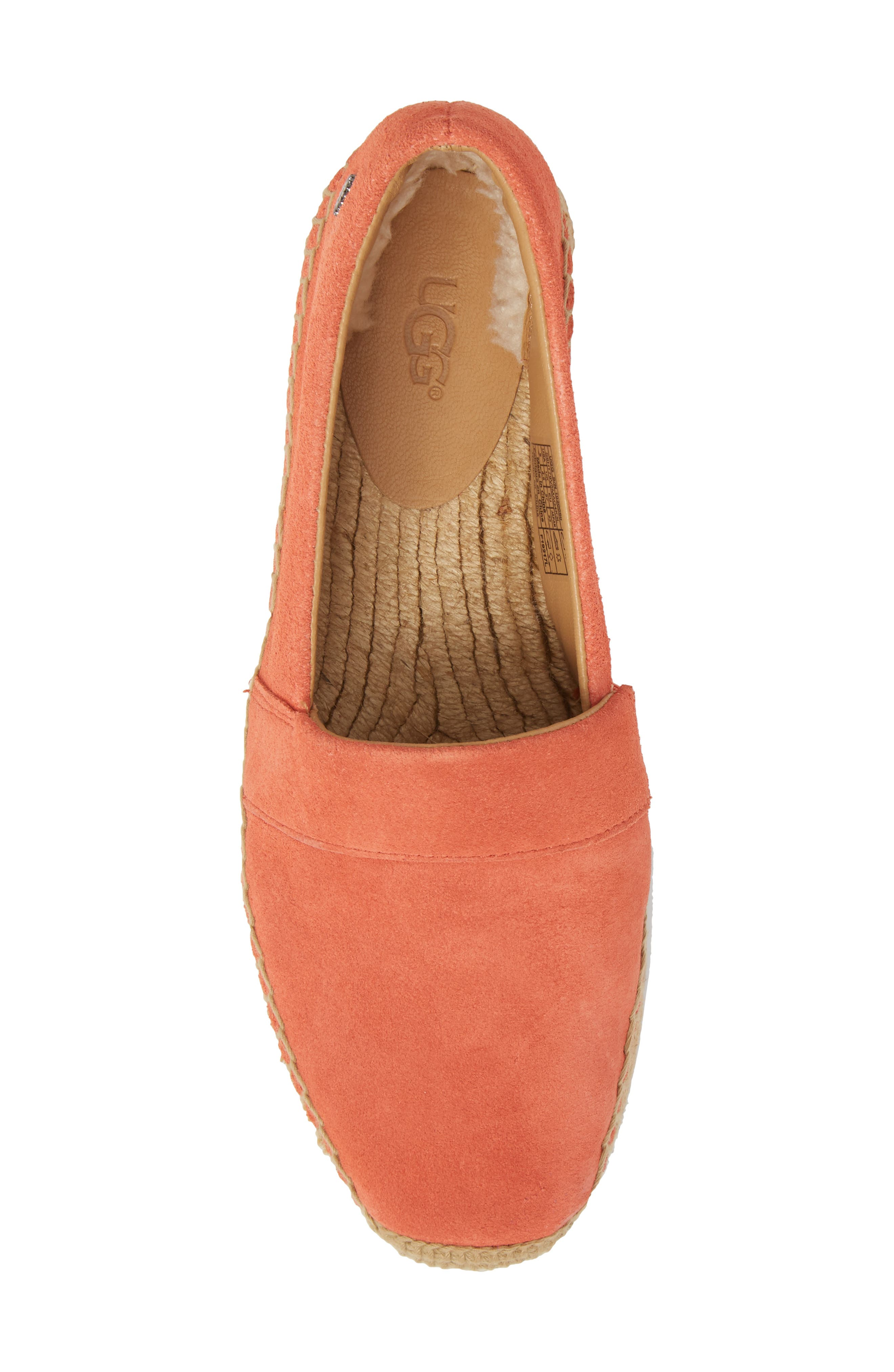 Reneda Espadrille Slip-On,                             Alternate thumbnail 5, color,                             Fusion Coral Suede