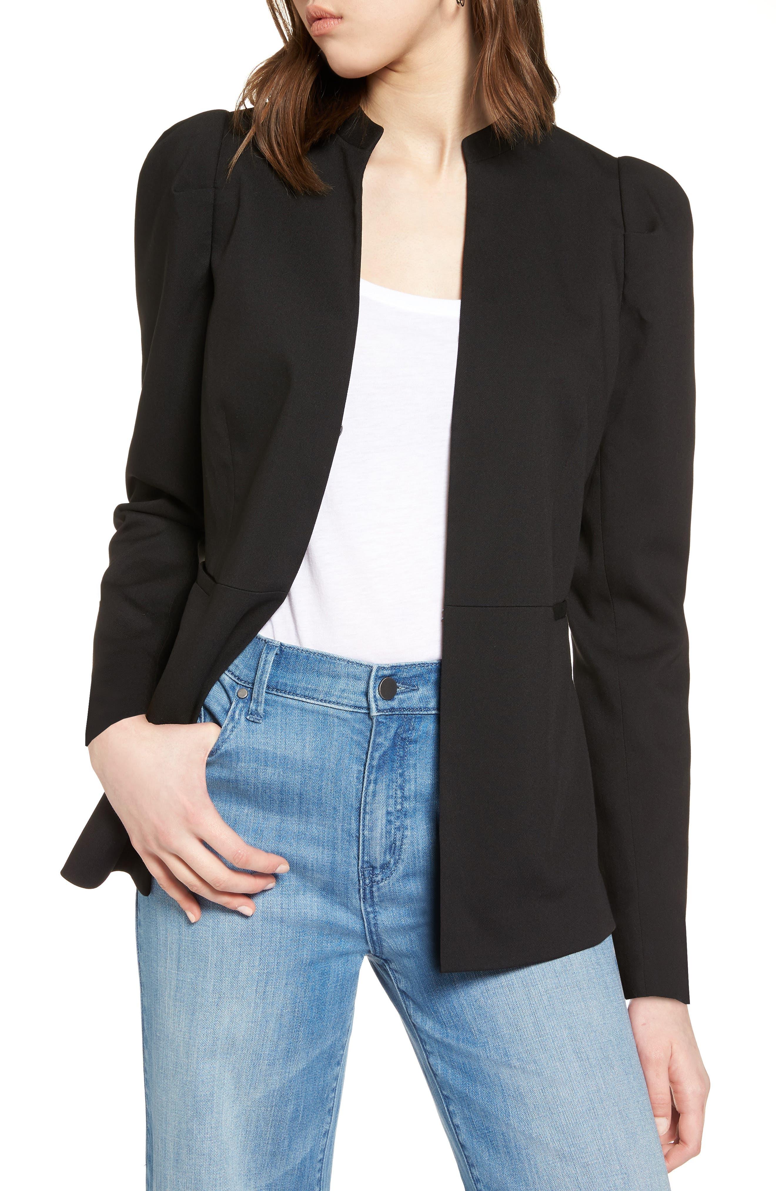 Puff Shoulder Jacket,                         Main,                         color, Black