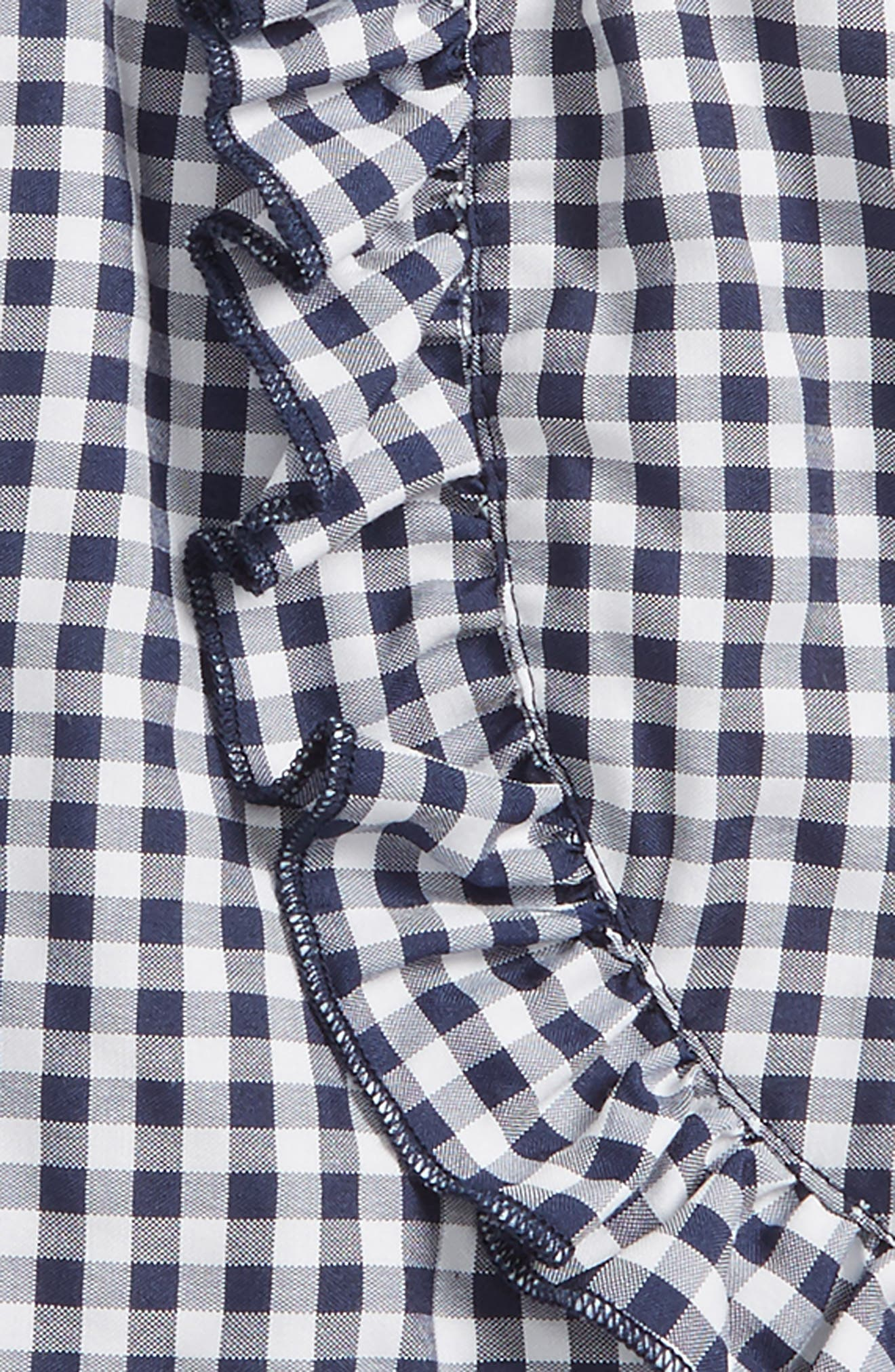 Ruffle Gingham Shorts,                             Alternate thumbnail 2, color,                             Navy White