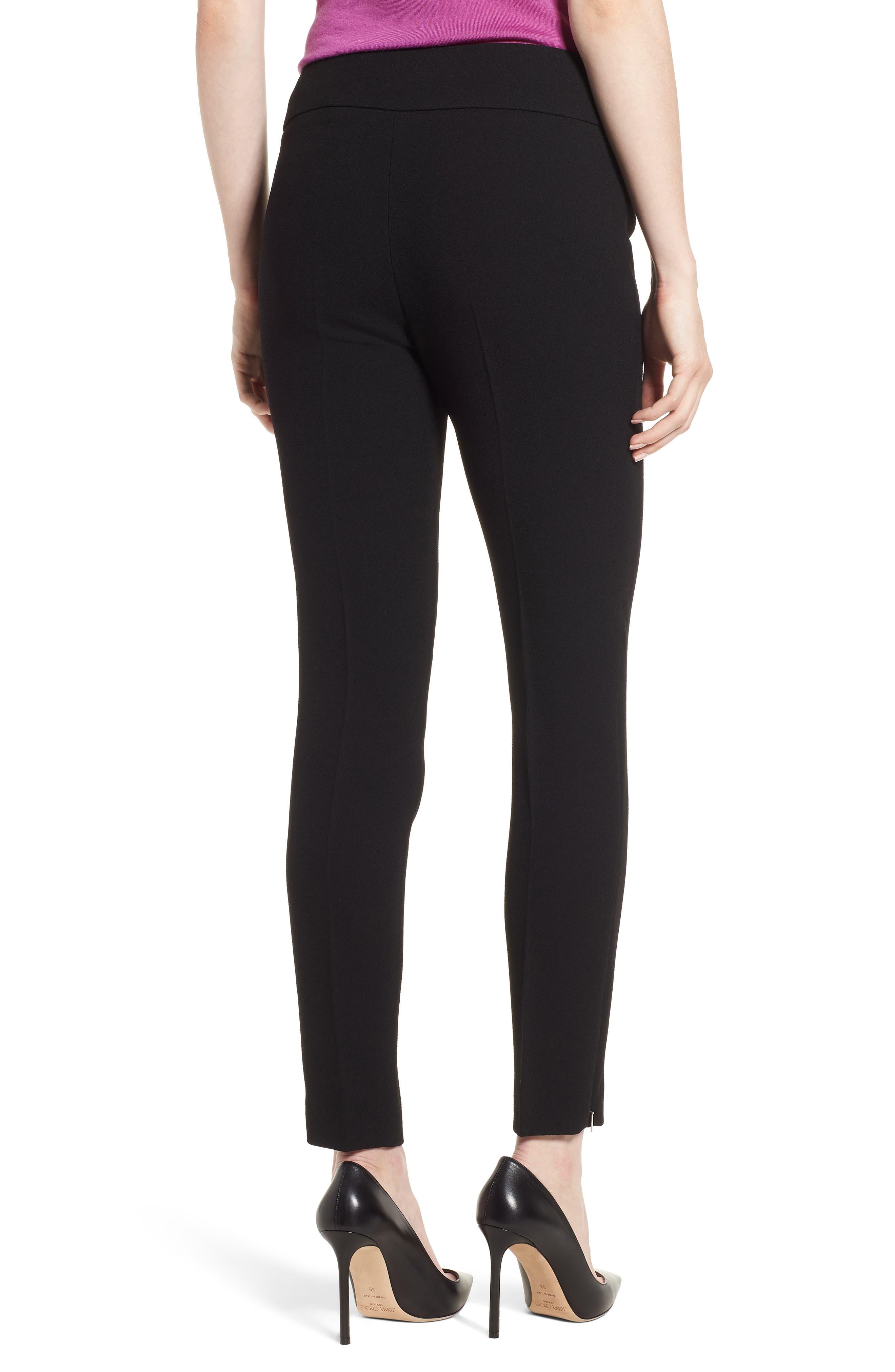 Timalea Compact Crepe Side Zip Slim Leg Trousers,                             Alternate thumbnail 2, color,                             Black