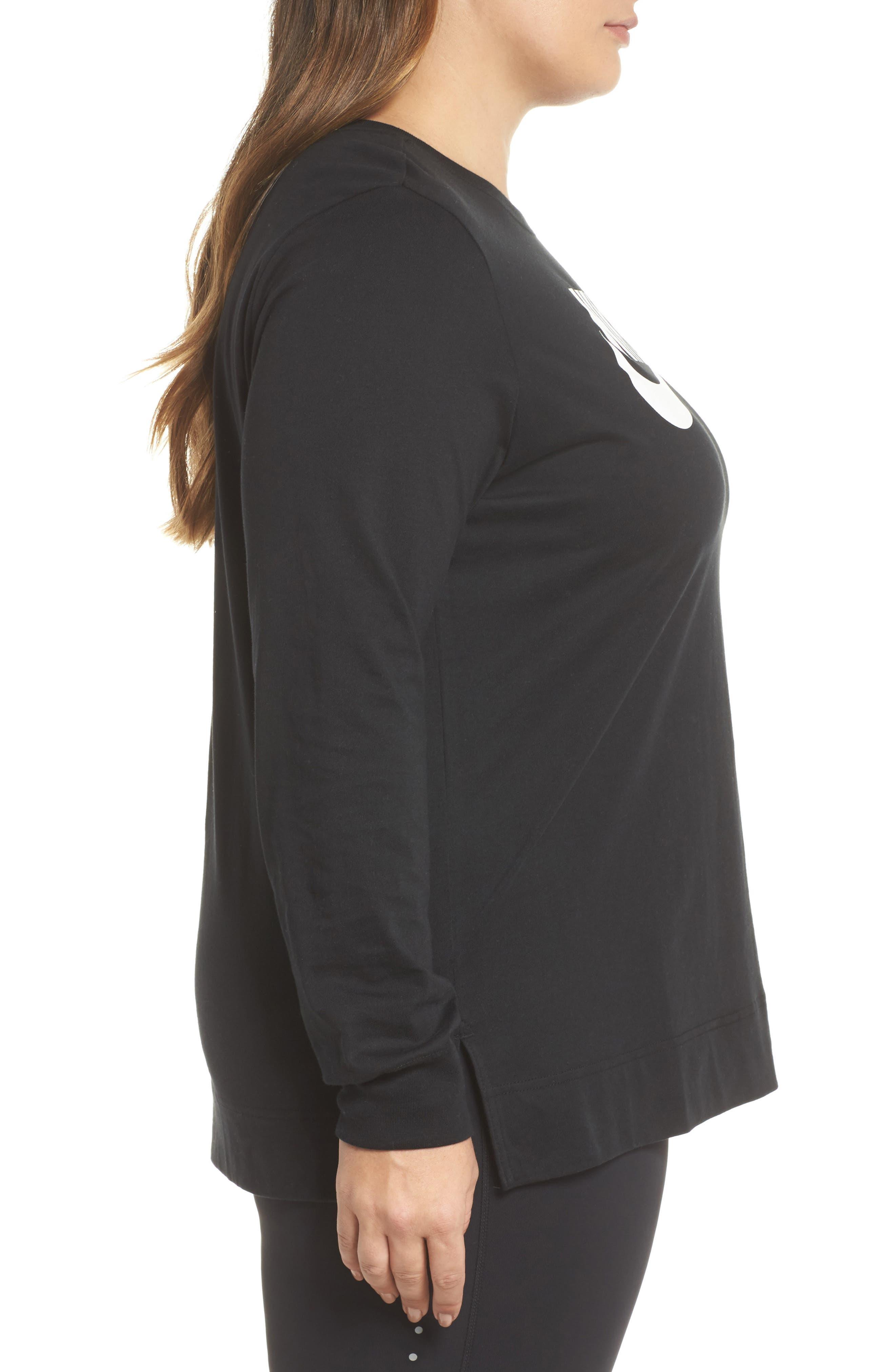 Sportswear Long Sleeve Tee,                             Alternate thumbnail 3, color,                             Black/ White