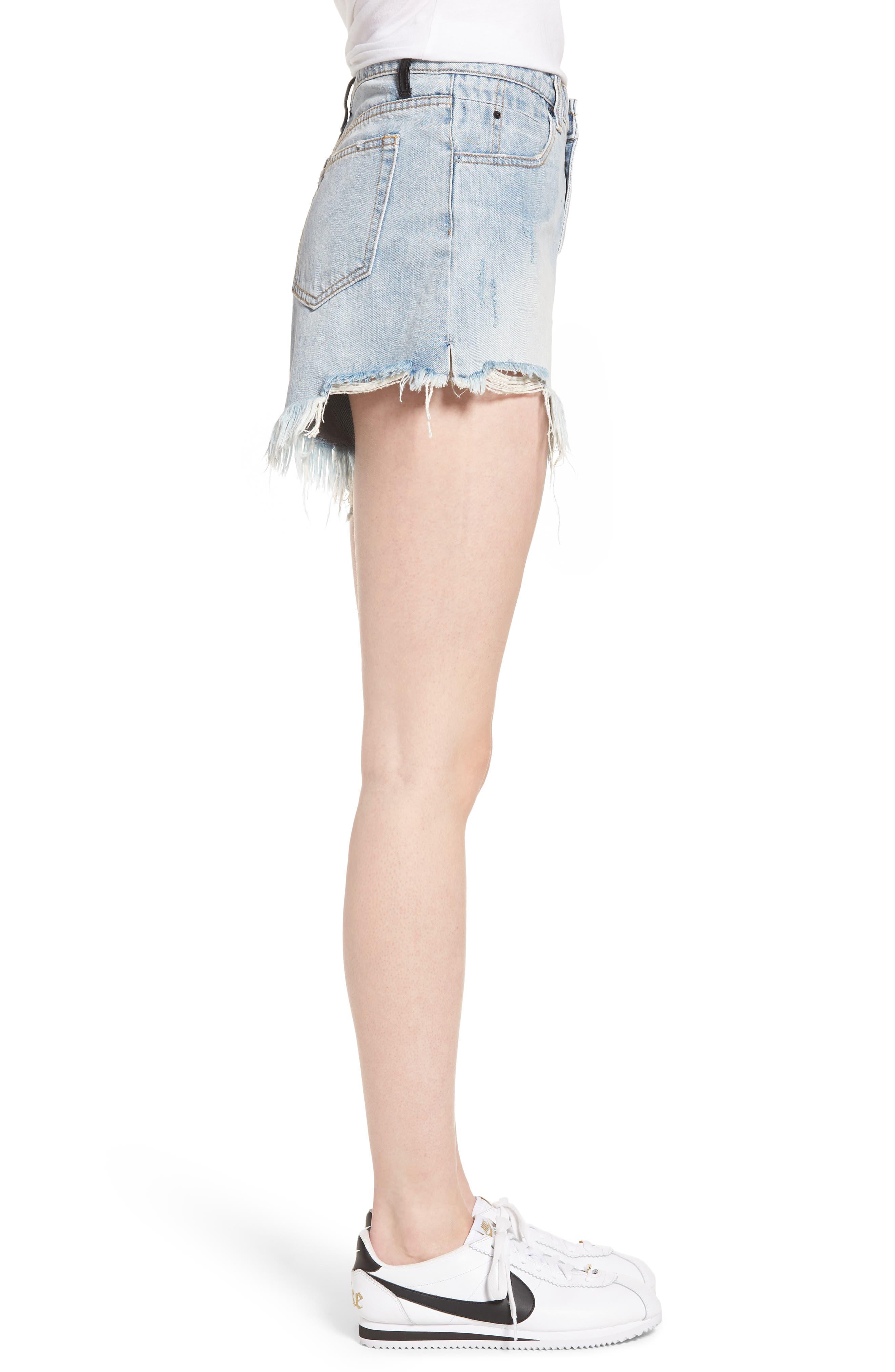 Arien High Waist Cutoff Denim Shorts,                             Alternate thumbnail 3, color,                             Washed Blue