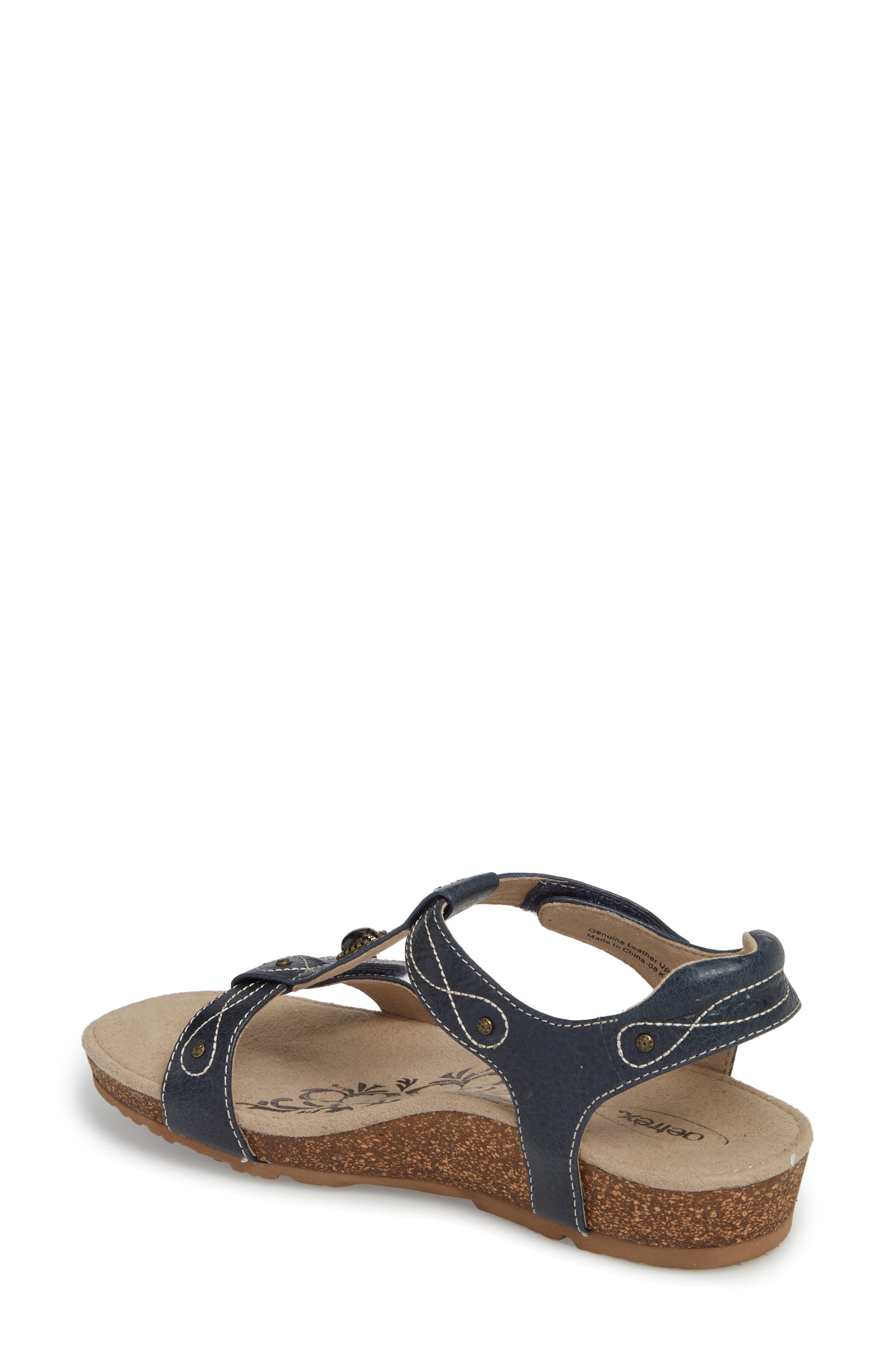 'Lori' Sandal,                             Alternate thumbnail 2, color,                             Navy Leather