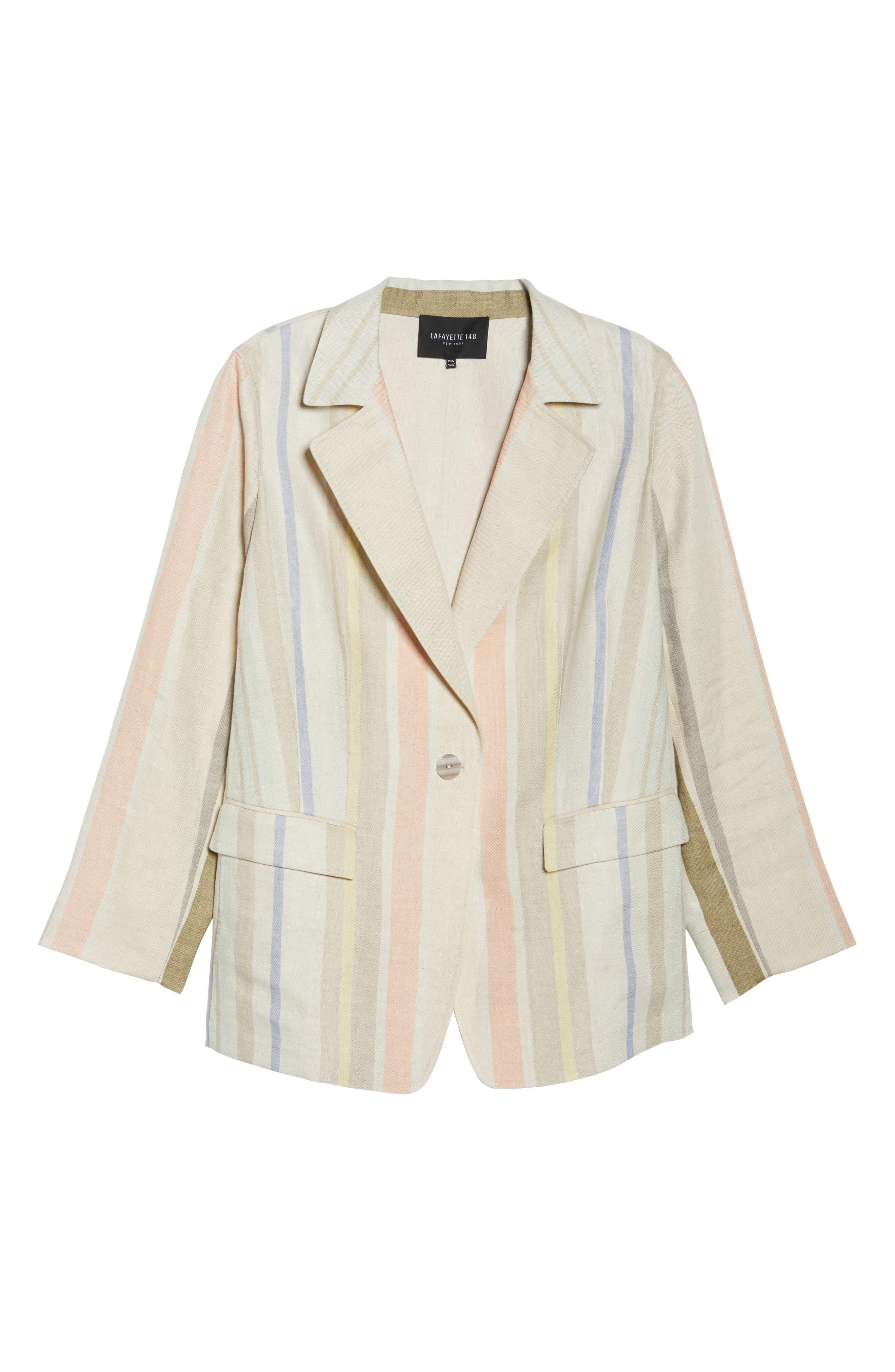 Marie Stripe Linen Jacket,                             Alternate thumbnail 6, color,                             Raffia Multi