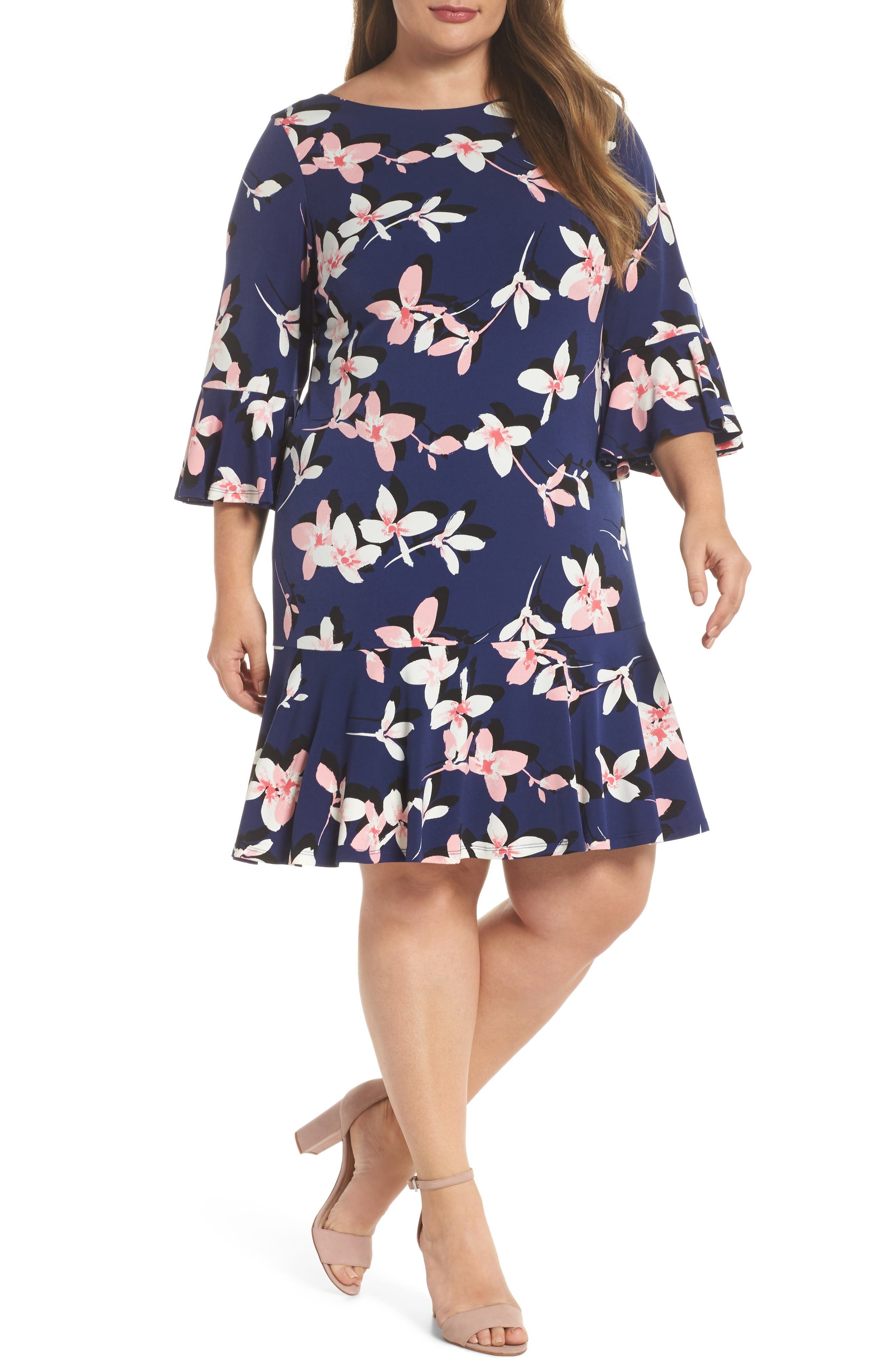 Floral Print Bell Sleeve Dress,                         Main,                         color, Navy/ Pink