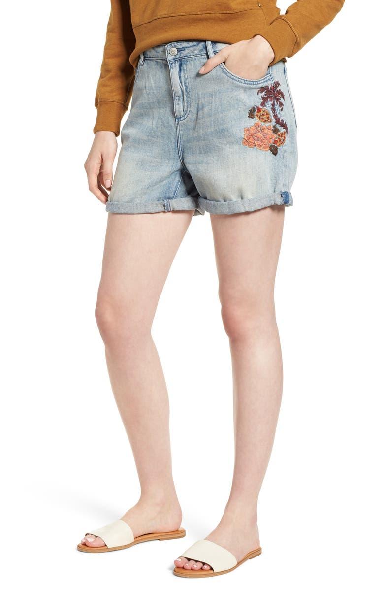 Embroidered Boyfriend Denim Shorts