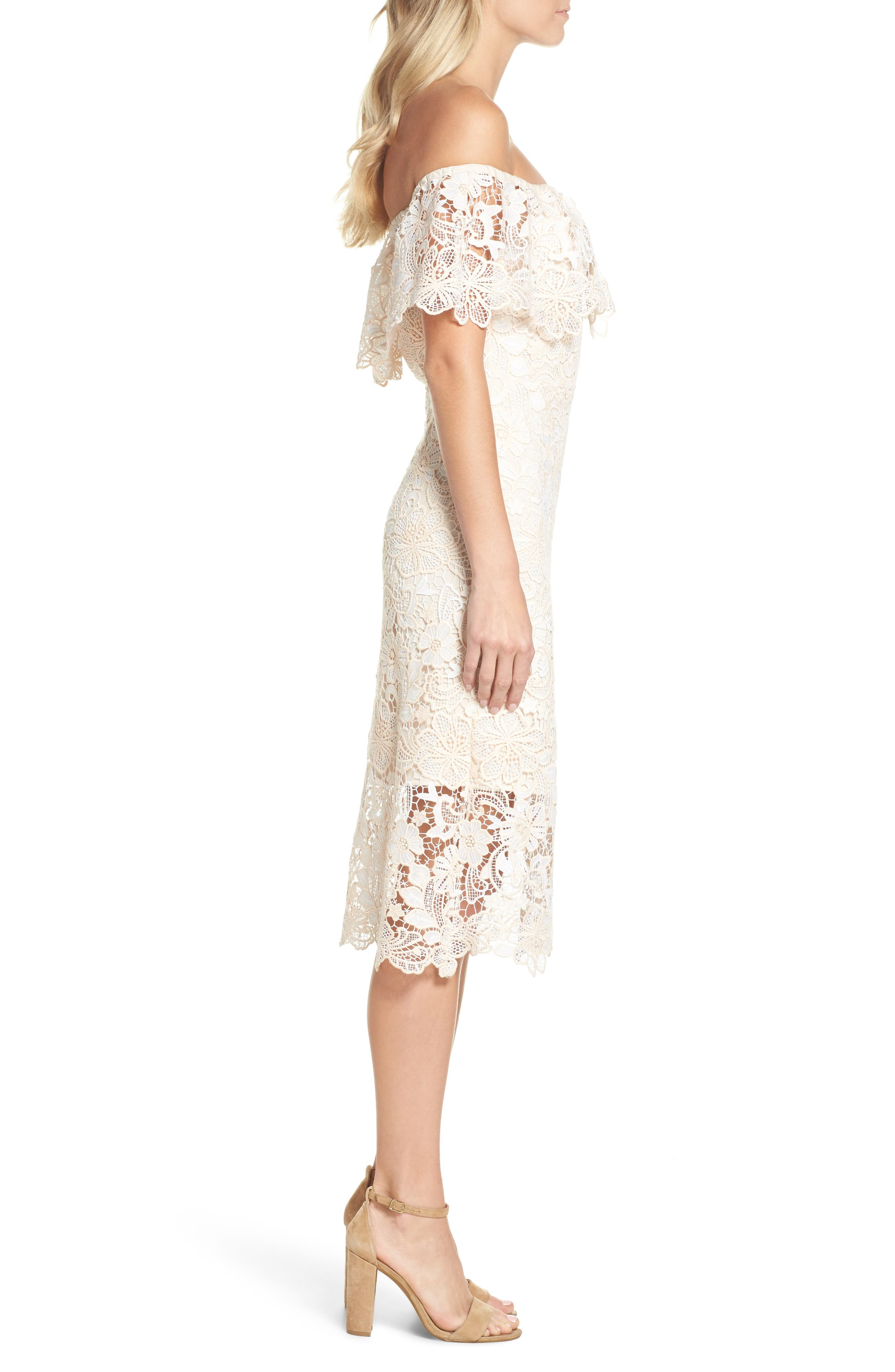 Off the Shoulder Lace Midi Dress,                             Alternate thumbnail 3, color,                             Ivory Floral