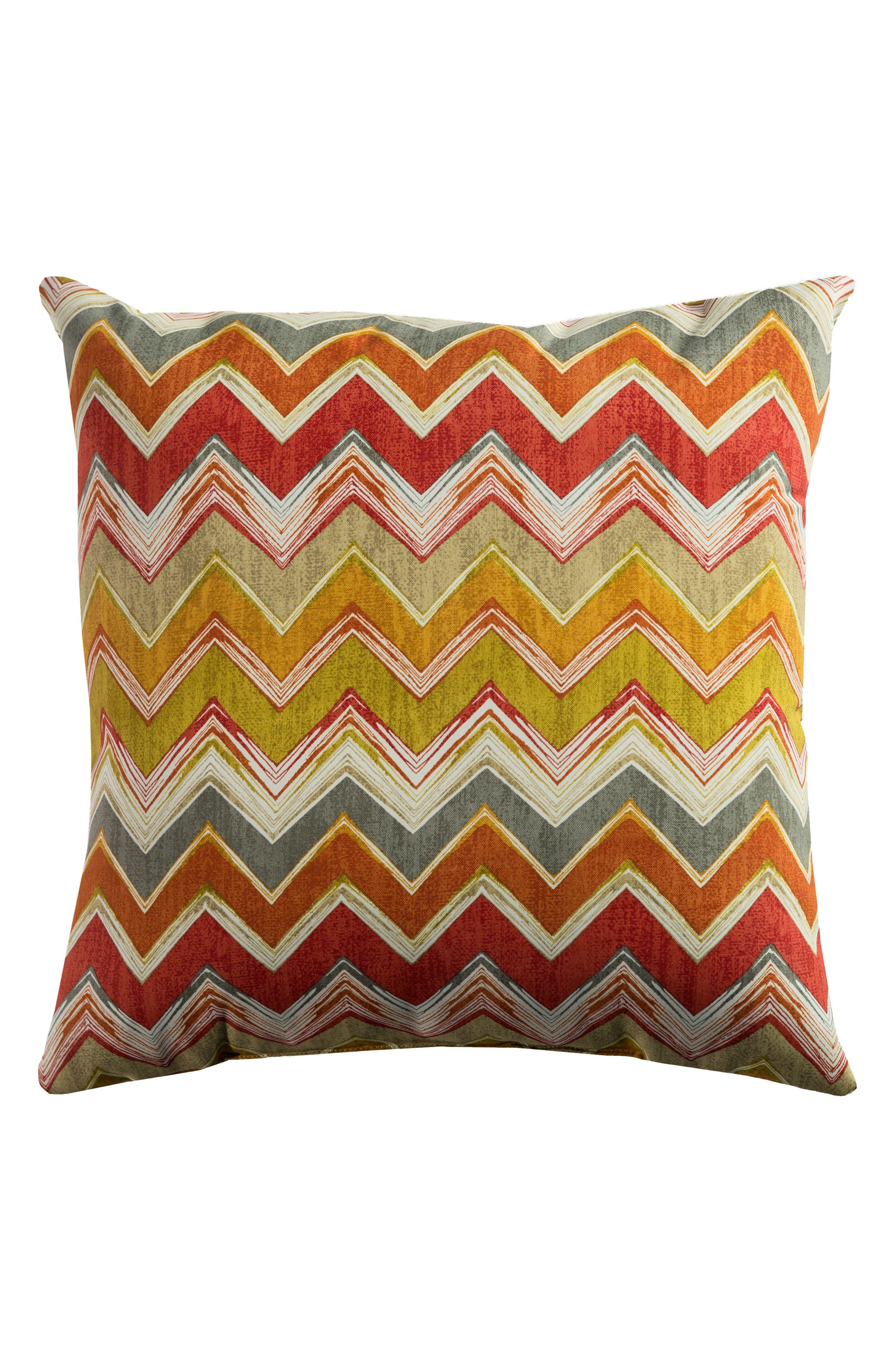 Chevron Outdoor Pillow,                             Main thumbnail 1, color,                             Orange/ Green