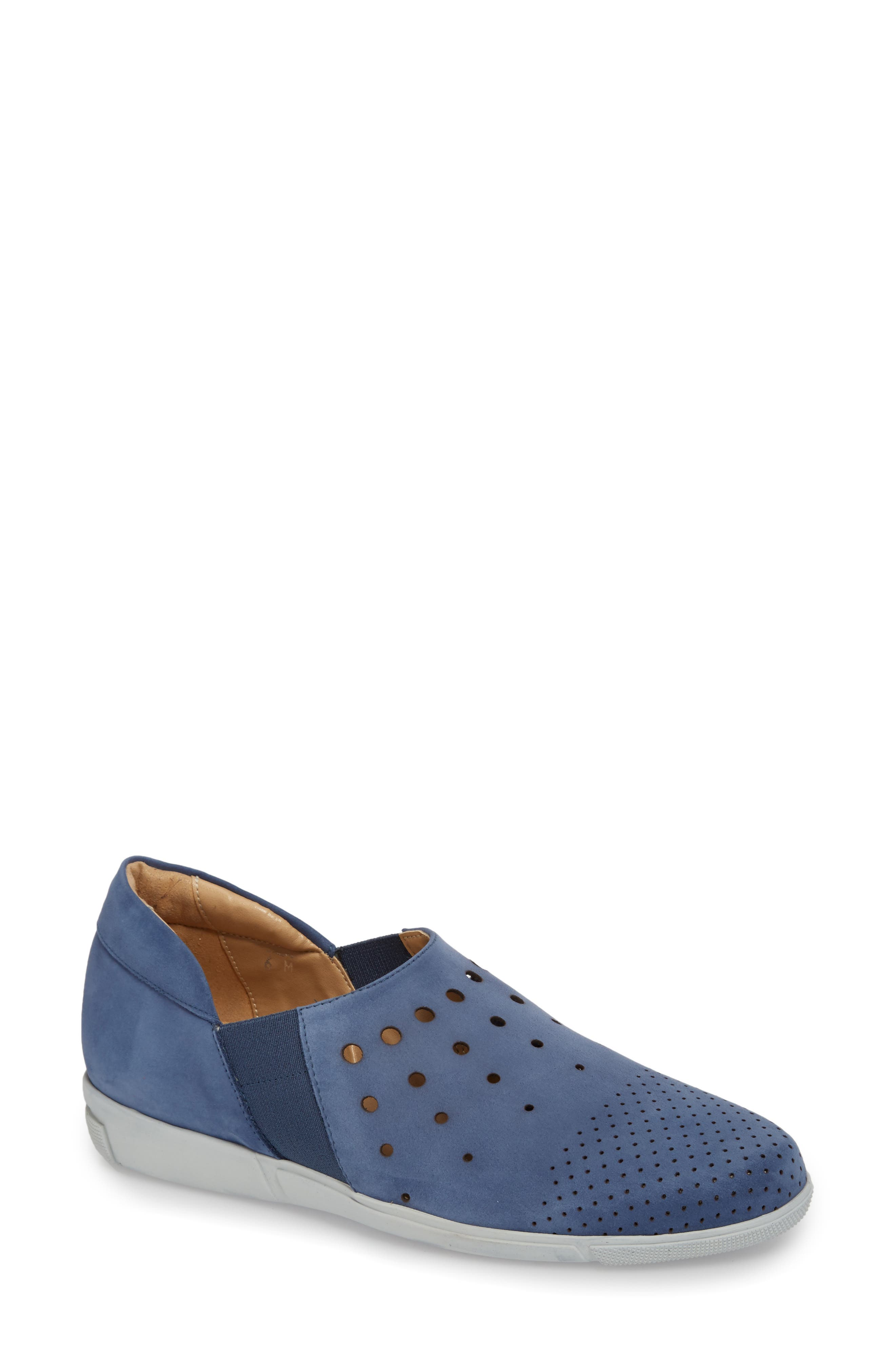 Ditty Perforated Slip-On,                             Main thumbnail 1, color,                             Jeans Soft Nubuck