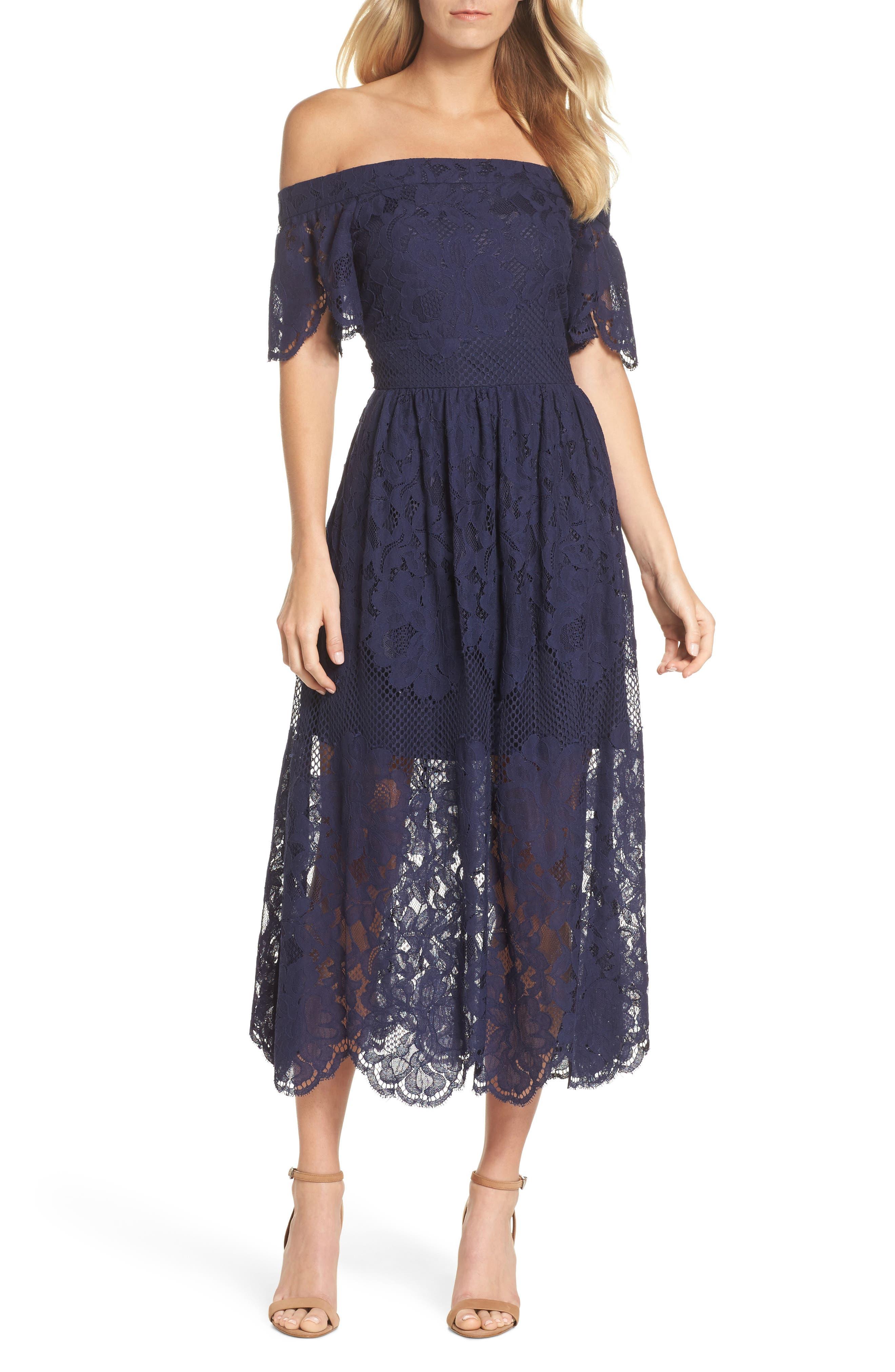 Off the Shoulder Lace Midi Dress,                             Main thumbnail 1, color,                             Navy