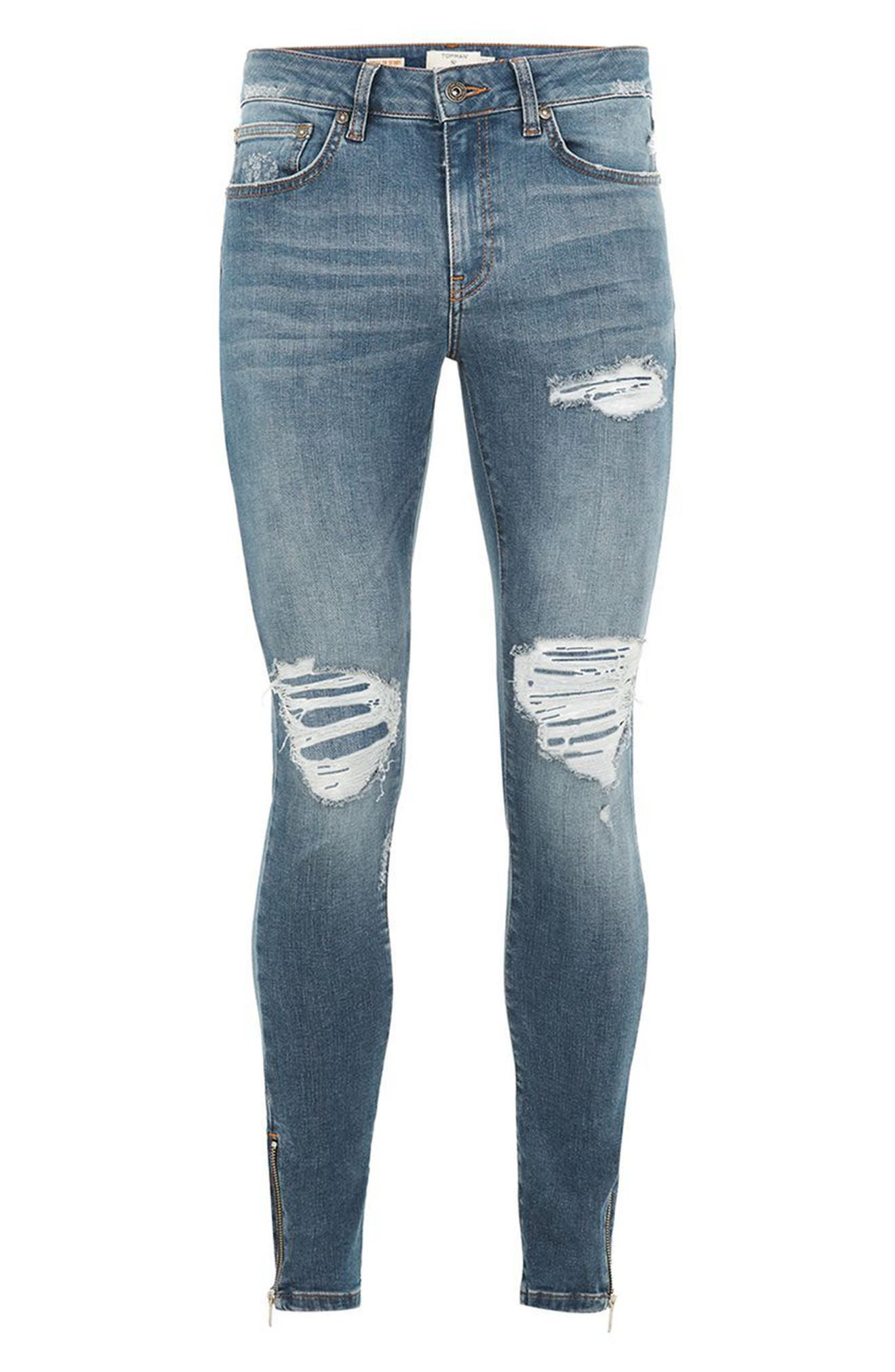 Ripped Spray-On Skinny Fit Jeans,                             Alternate thumbnail 4, color,                             Blue