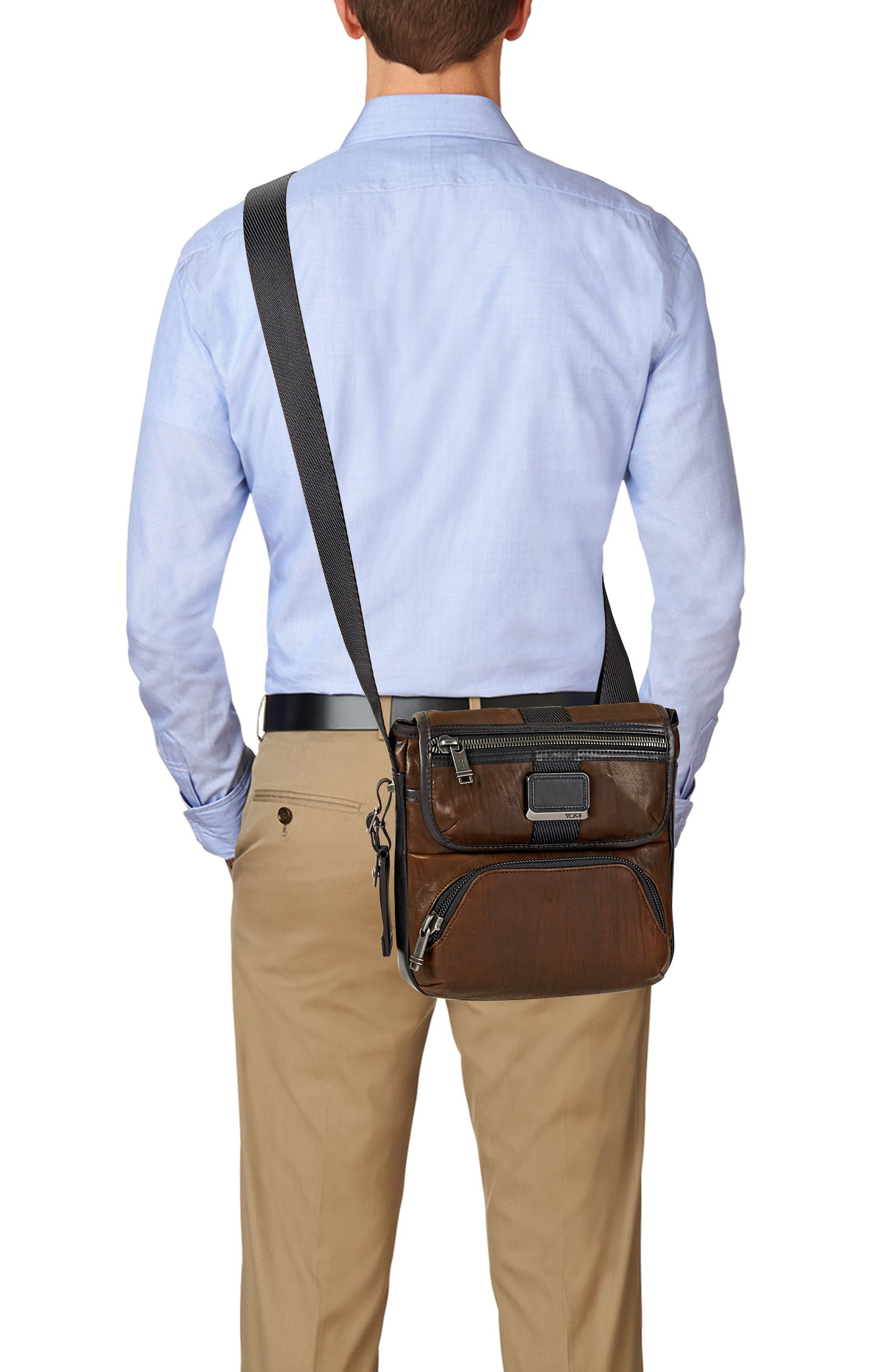 Alpha Bravo - Barton Leather Crossbody Bag,                             Alternate thumbnail 2, color,                             Dark Brown