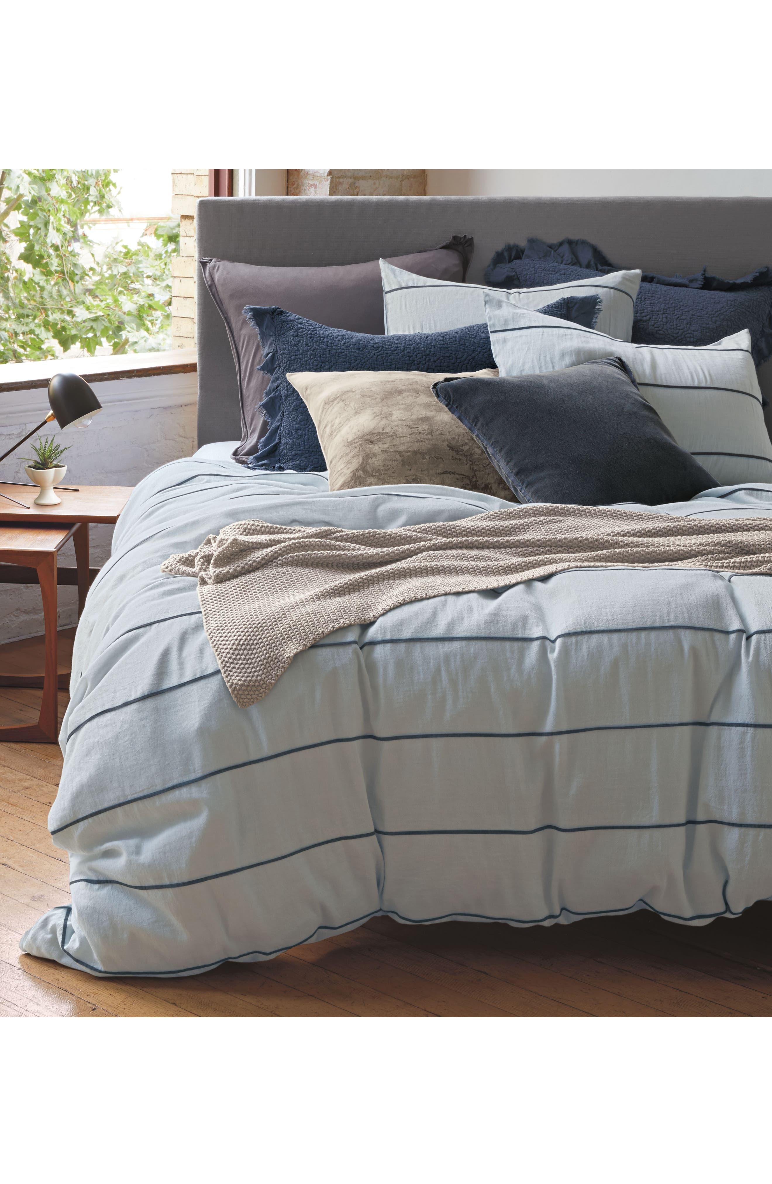 Textured Stripe Pillow Sham,                             Alternate thumbnail 2, color,                             Blue Ashley
