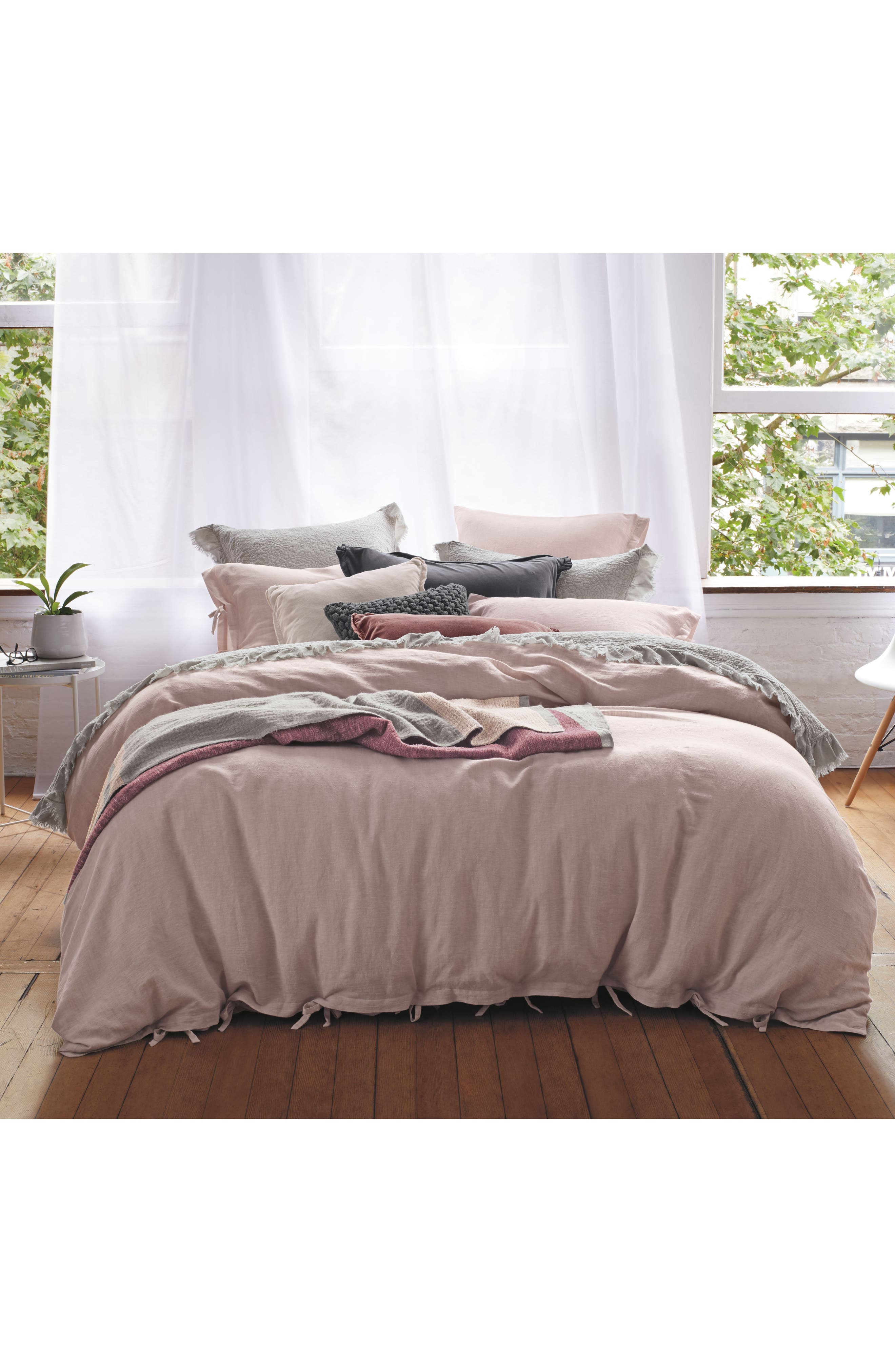 Relaxed Cotton & Linen Sham,                             Alternate thumbnail 3, color,                             Pink Wisp