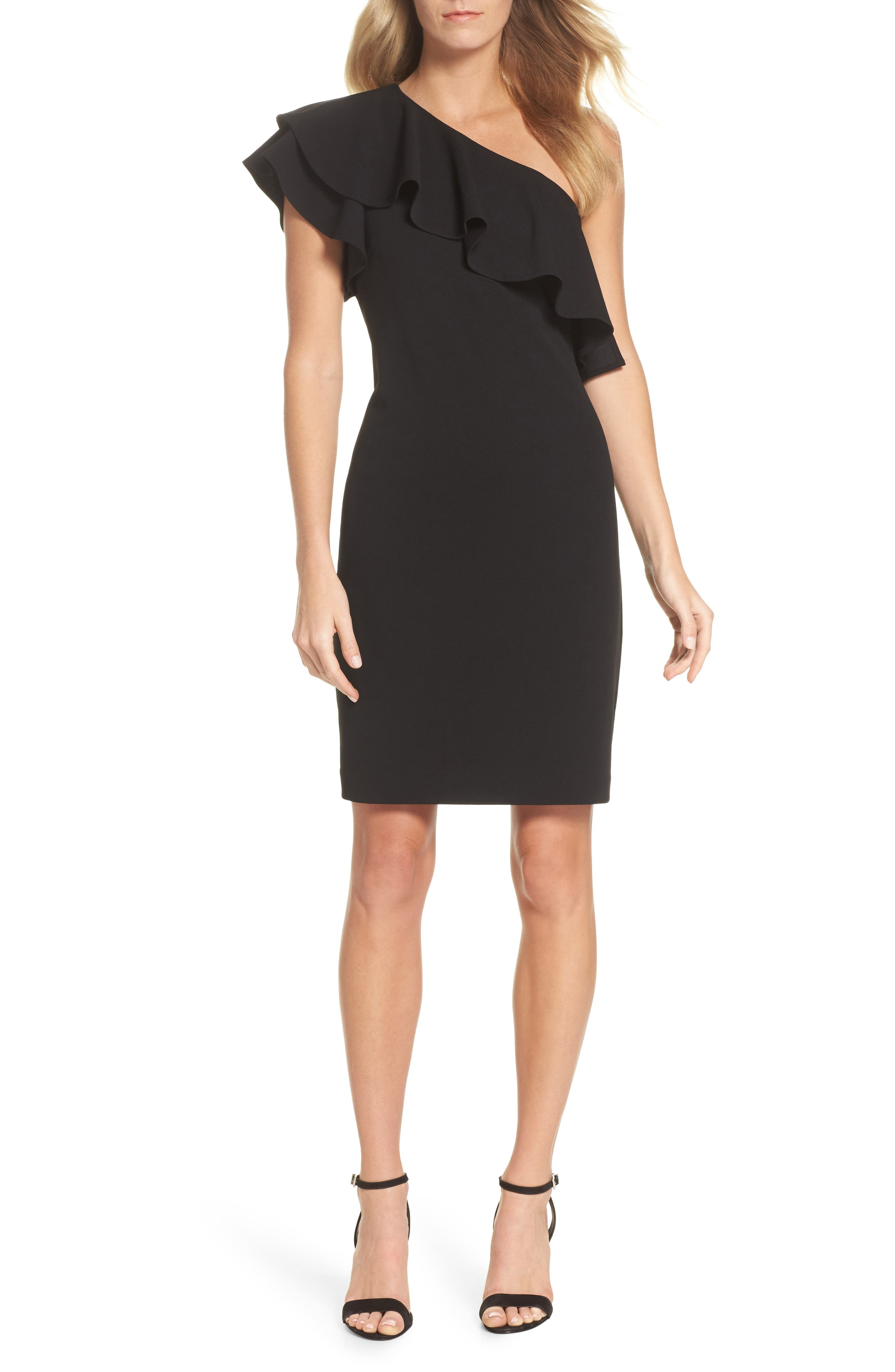 One-Shoulder Ruffle Dress,                             Main thumbnail 1, color,                             Black