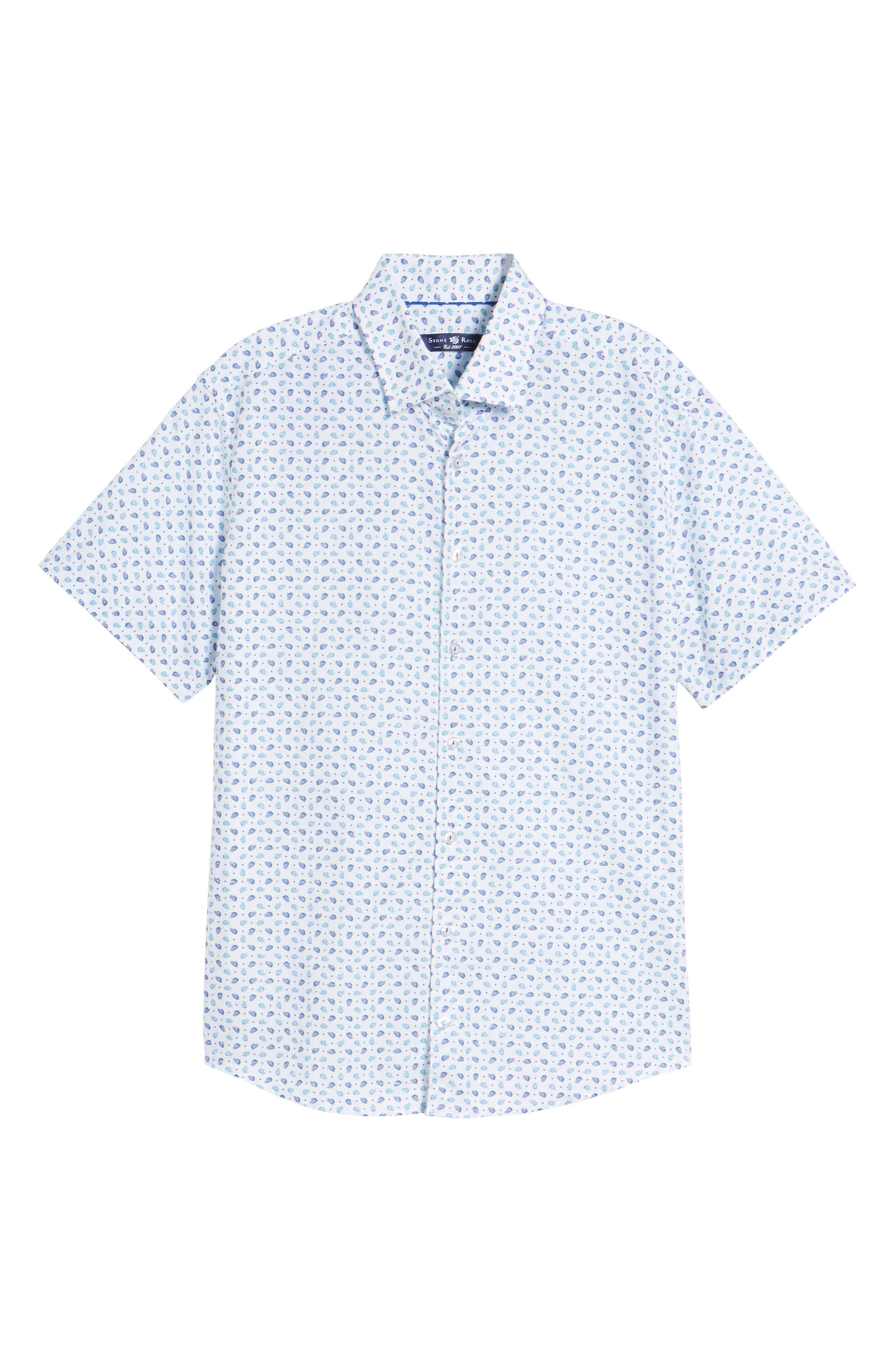 Contemporary Fit Cap Print Sport Shirt,                             Alternate thumbnail 6, color,                             White