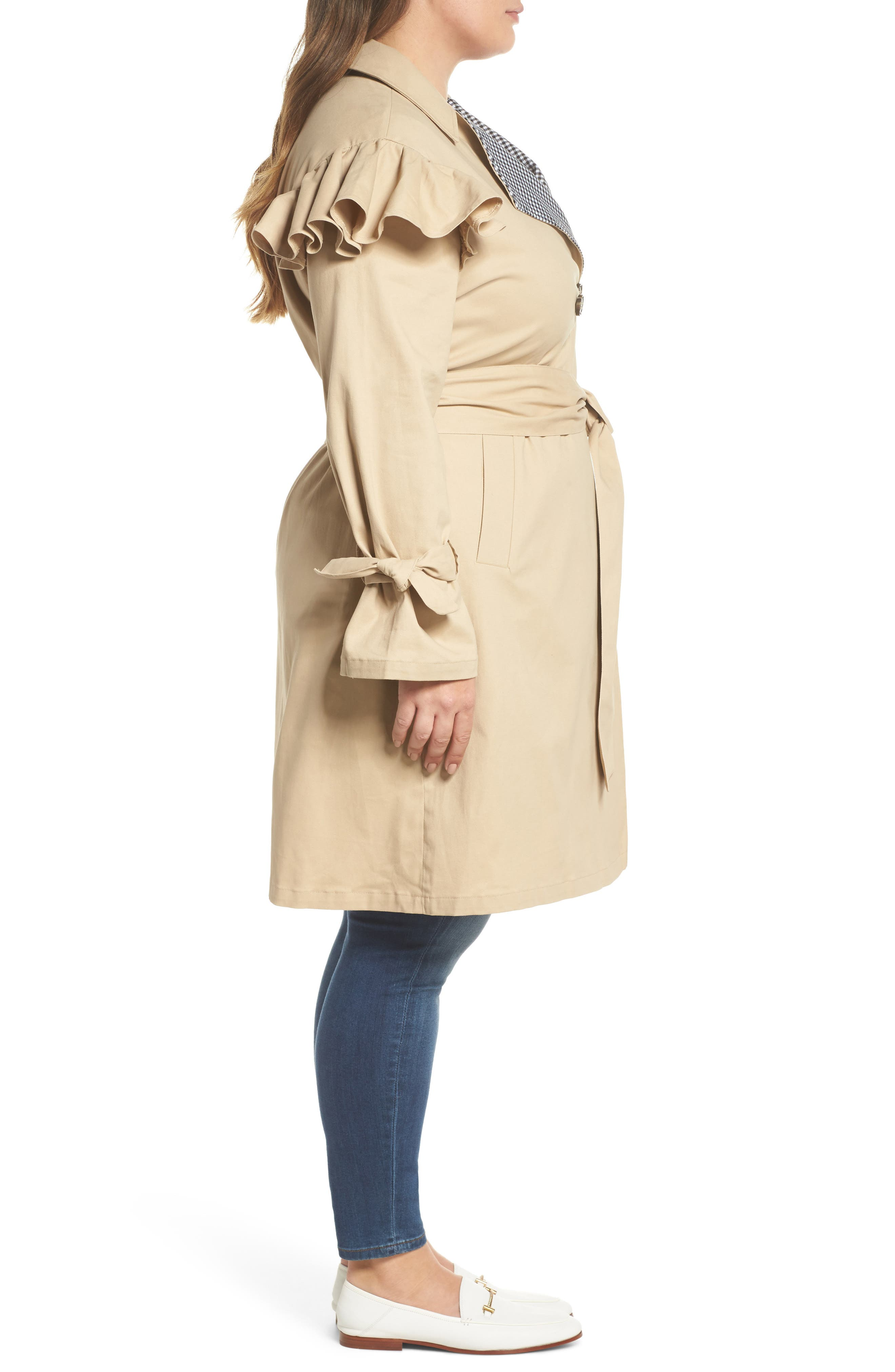 Gingham Trim Ruffle Trench,                             Alternate thumbnail 3, color,                             Beige