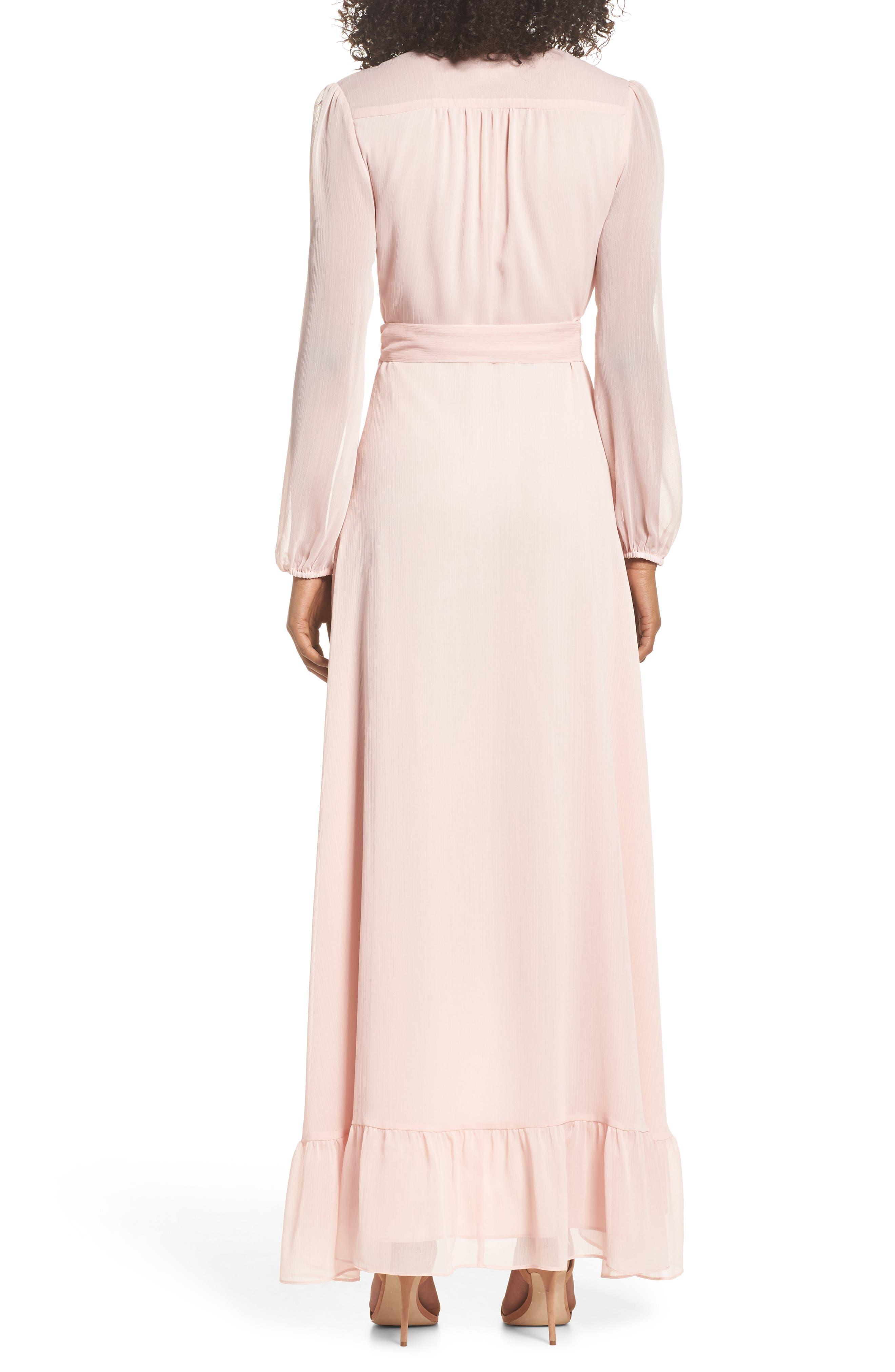 Meryl Long Sleeve Wrap Maxi Dress,                             Alternate thumbnail 2, color,                             Ballet Pink