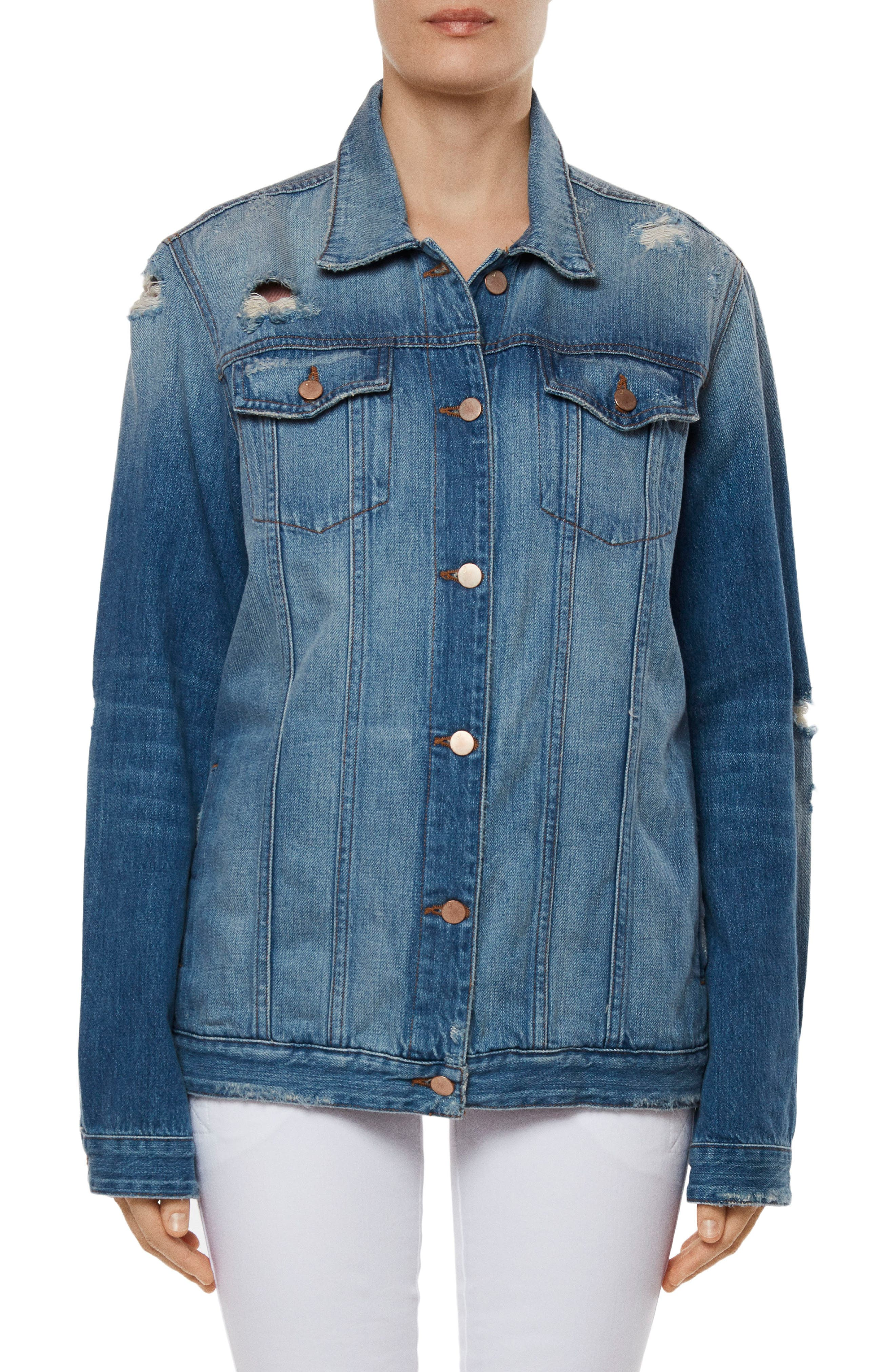Cyra Oversize Denim Jacket,                         Main,                         color, Broken Heart