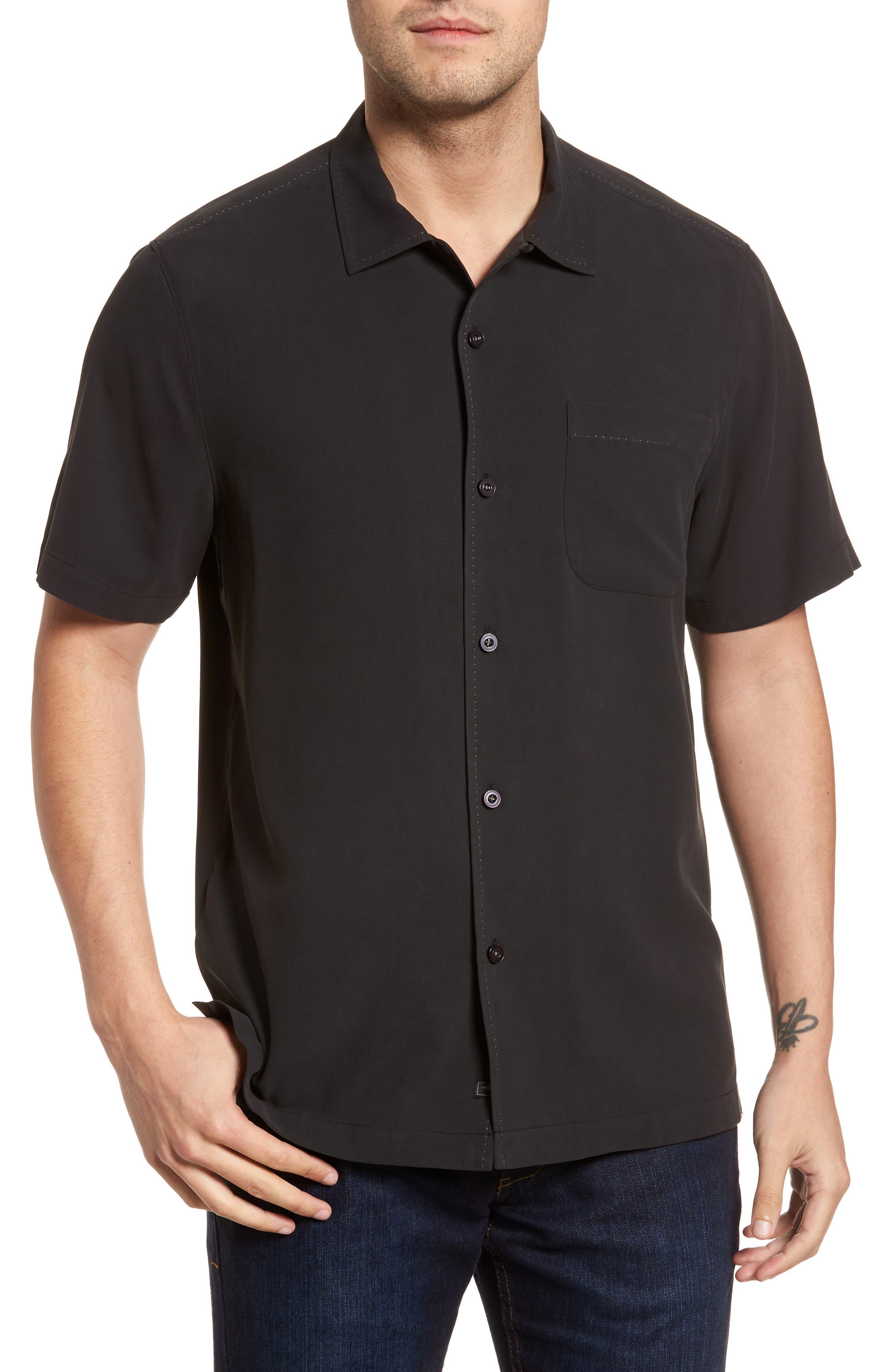 Catalina Twill Sport Shirt,                             Main thumbnail 1, color,                             Black