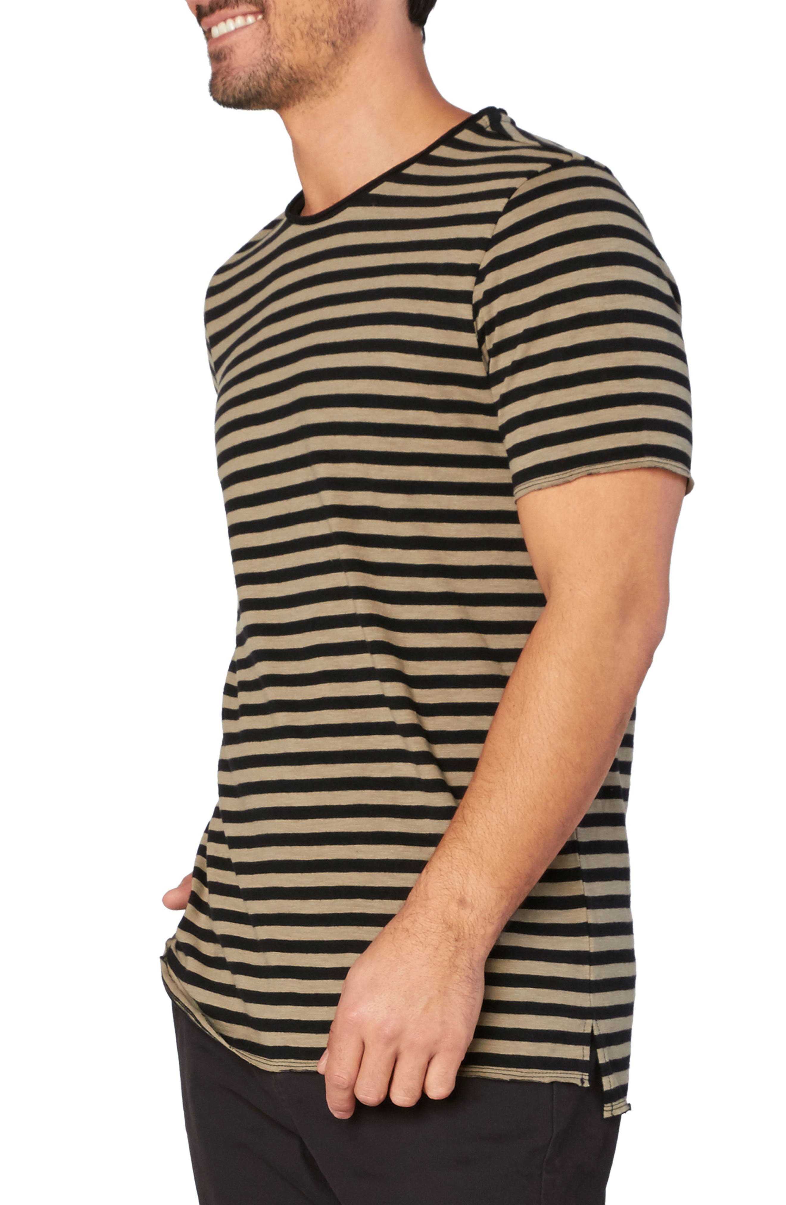 Kane Slub Stripe T-Shirt,                             Alternate thumbnail 3, color,                             Brindle