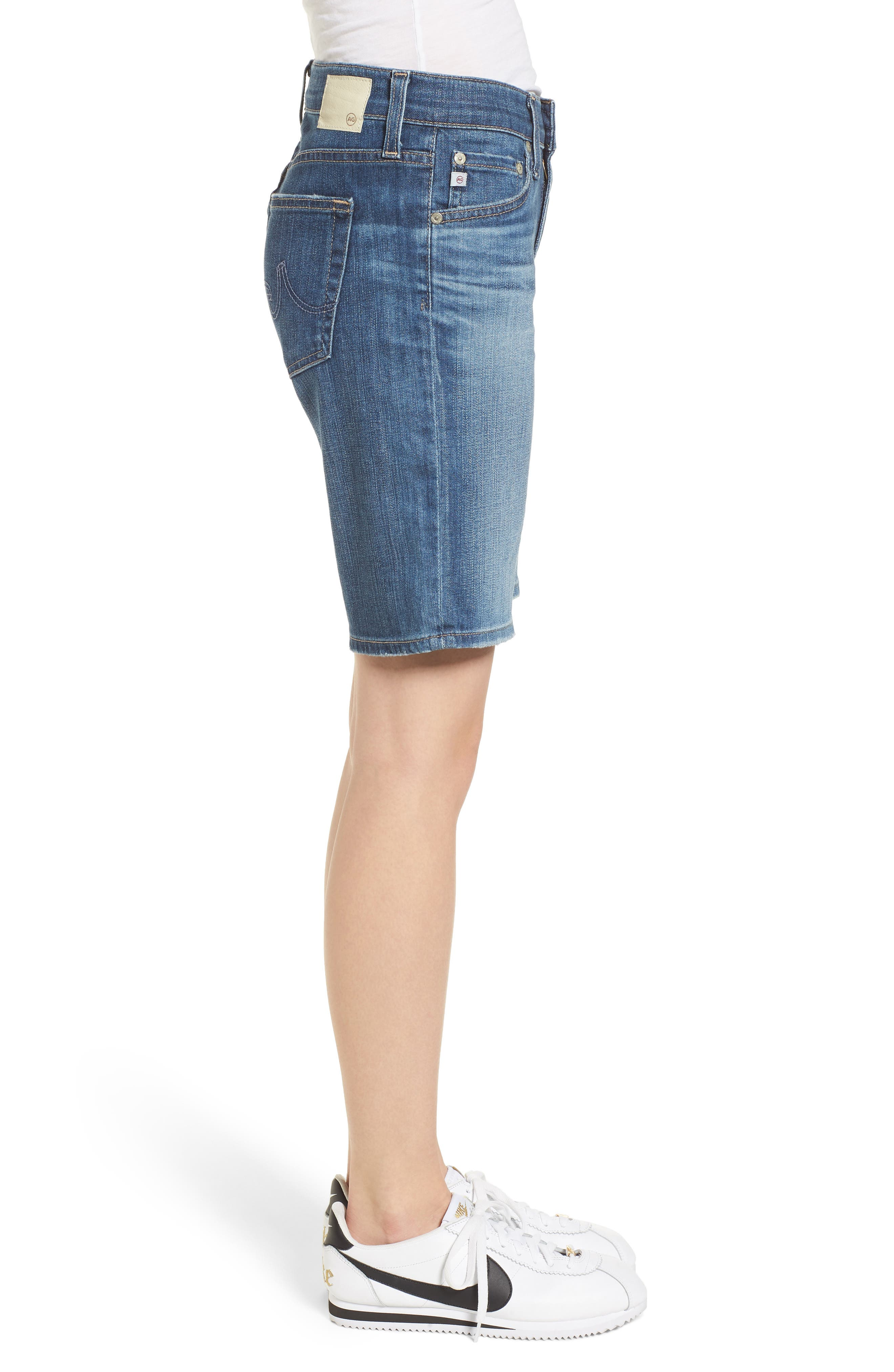 'Nikki' Distressed Denim Bermuda Shorts,                             Alternate thumbnail 3, color,                             11 Years Sapphire Sky