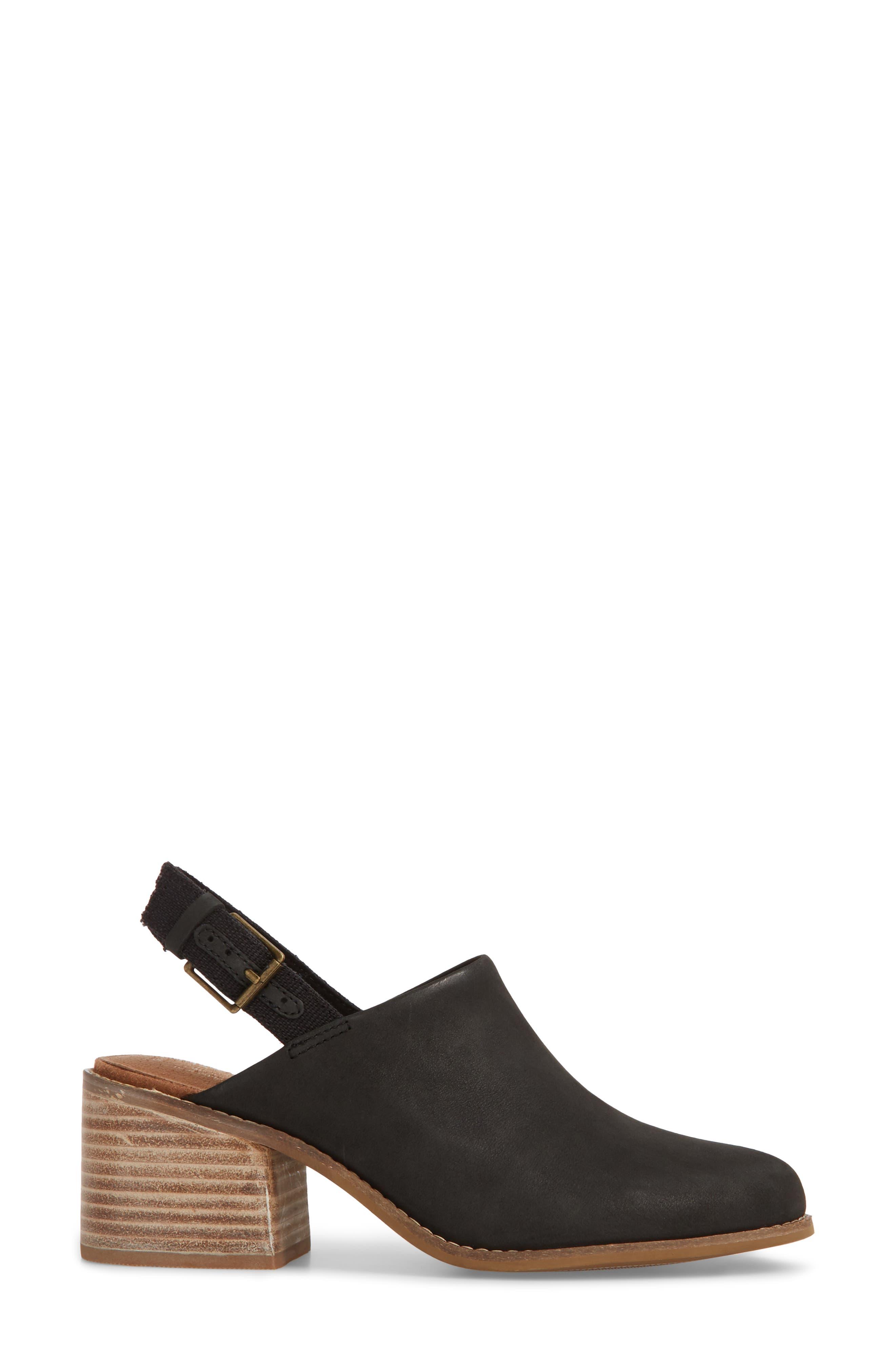 Leila Slingback Sandal,                             Alternate thumbnail 3, color,                             Black Leather