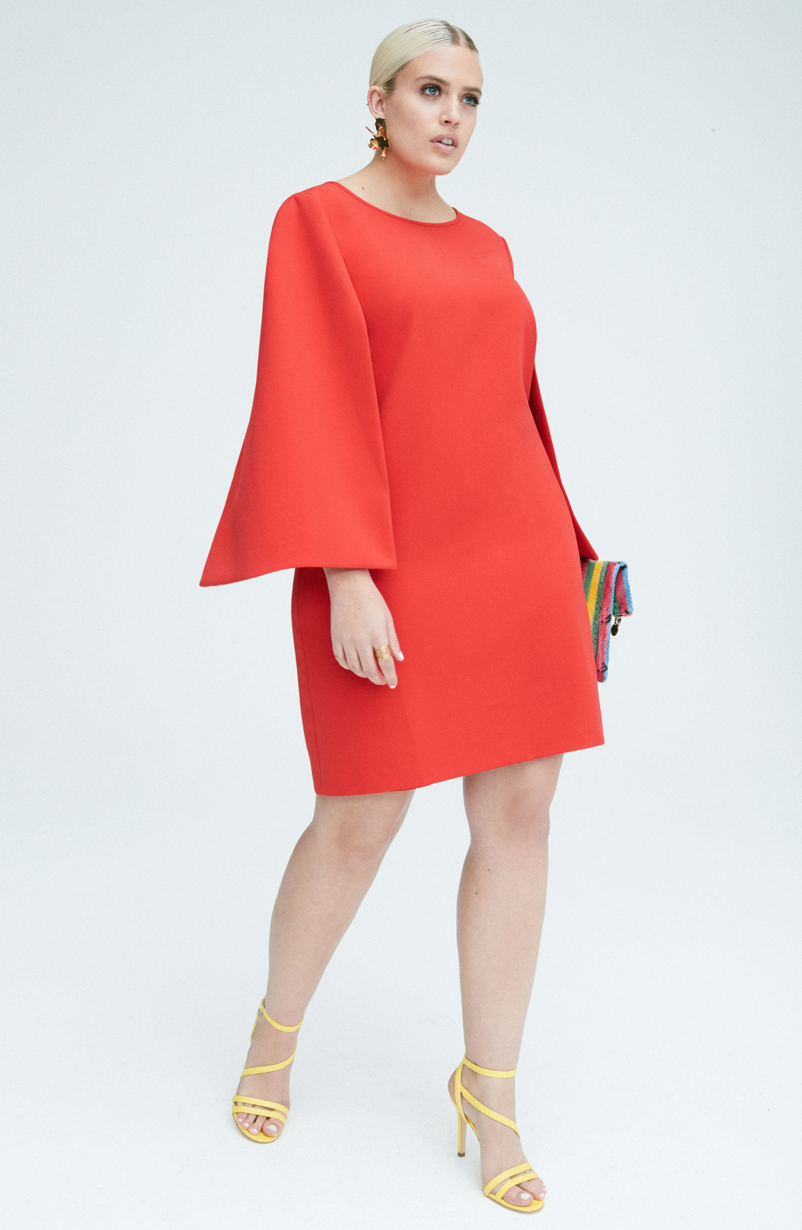 Jewel Neck Cape Sleeve Dress,                             Alternate thumbnail 2, color,                             Red