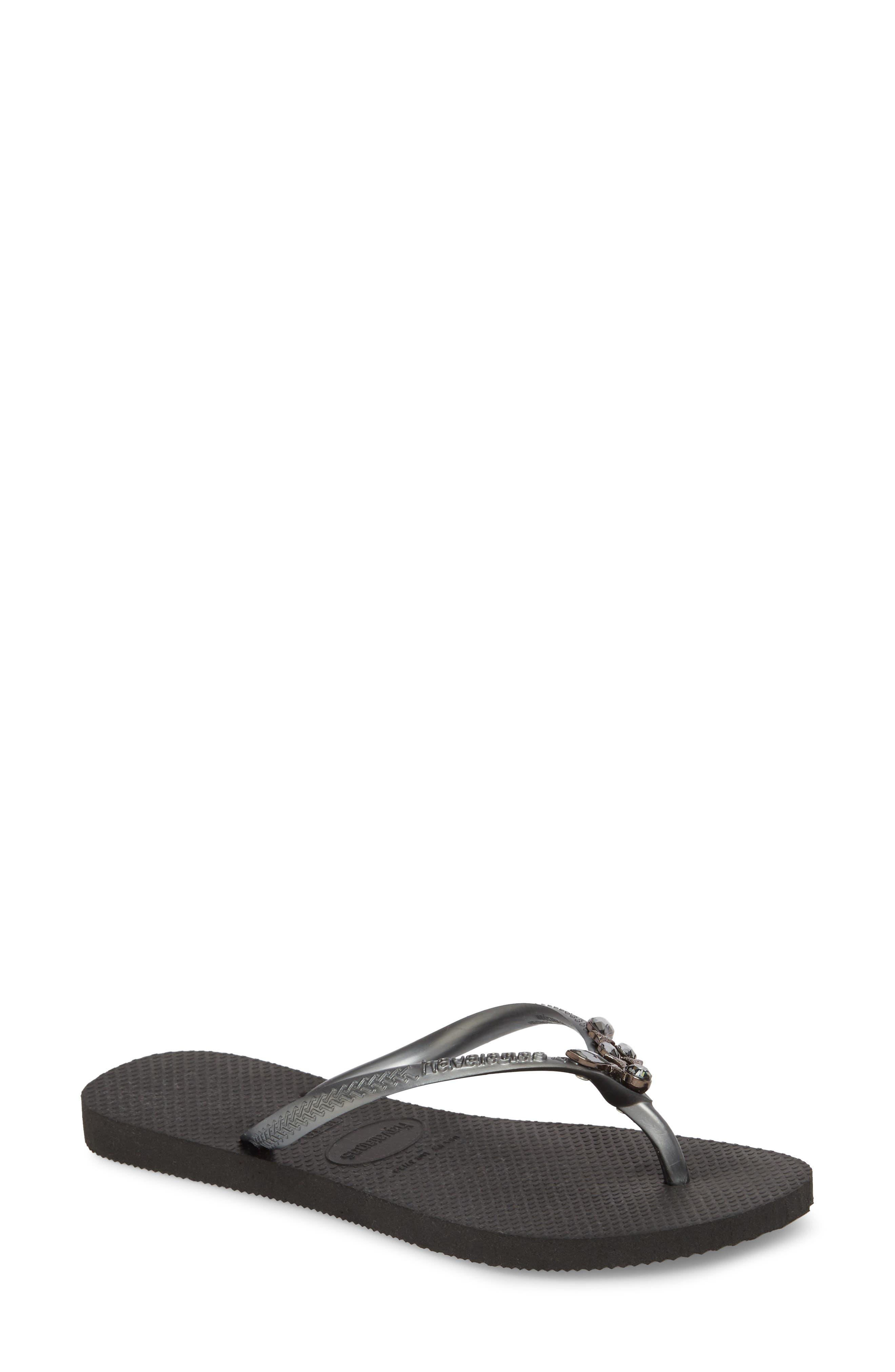 Slim Lux Flip Flop,                             Main thumbnail 1, color,                             Black/ Black