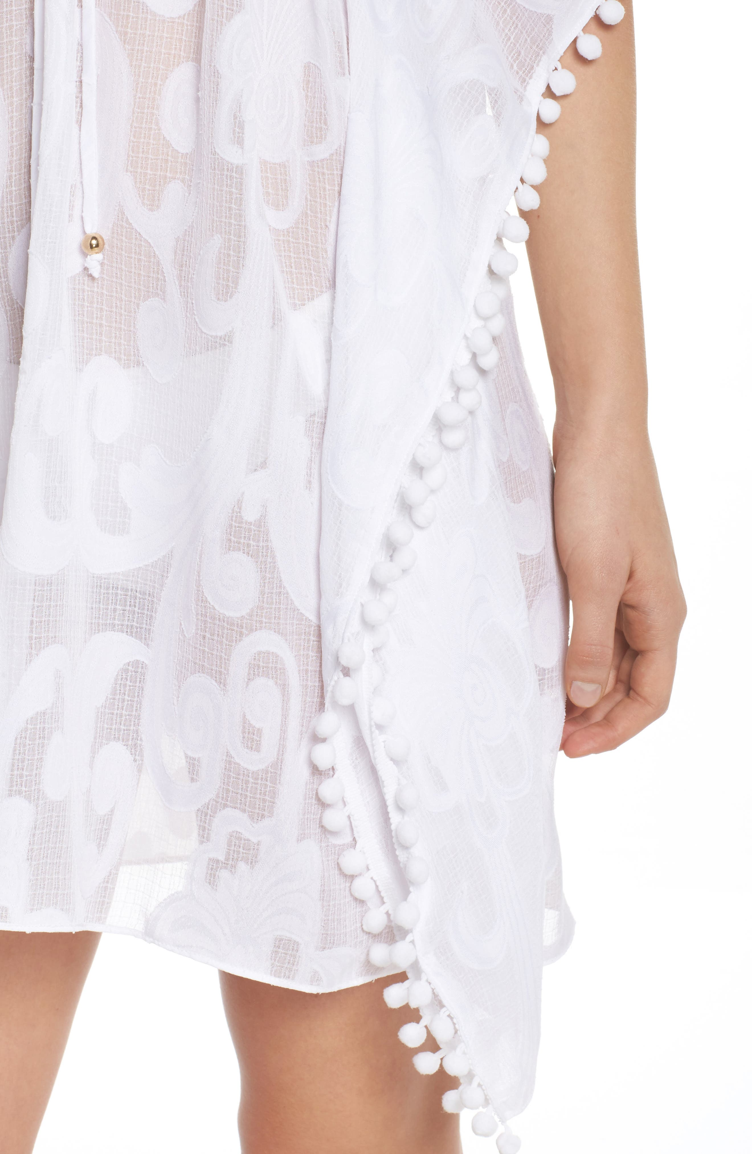 Gardenia Cover-Up,                             Alternate thumbnail 4, color,                             Resort White Poly Crepe Swirl