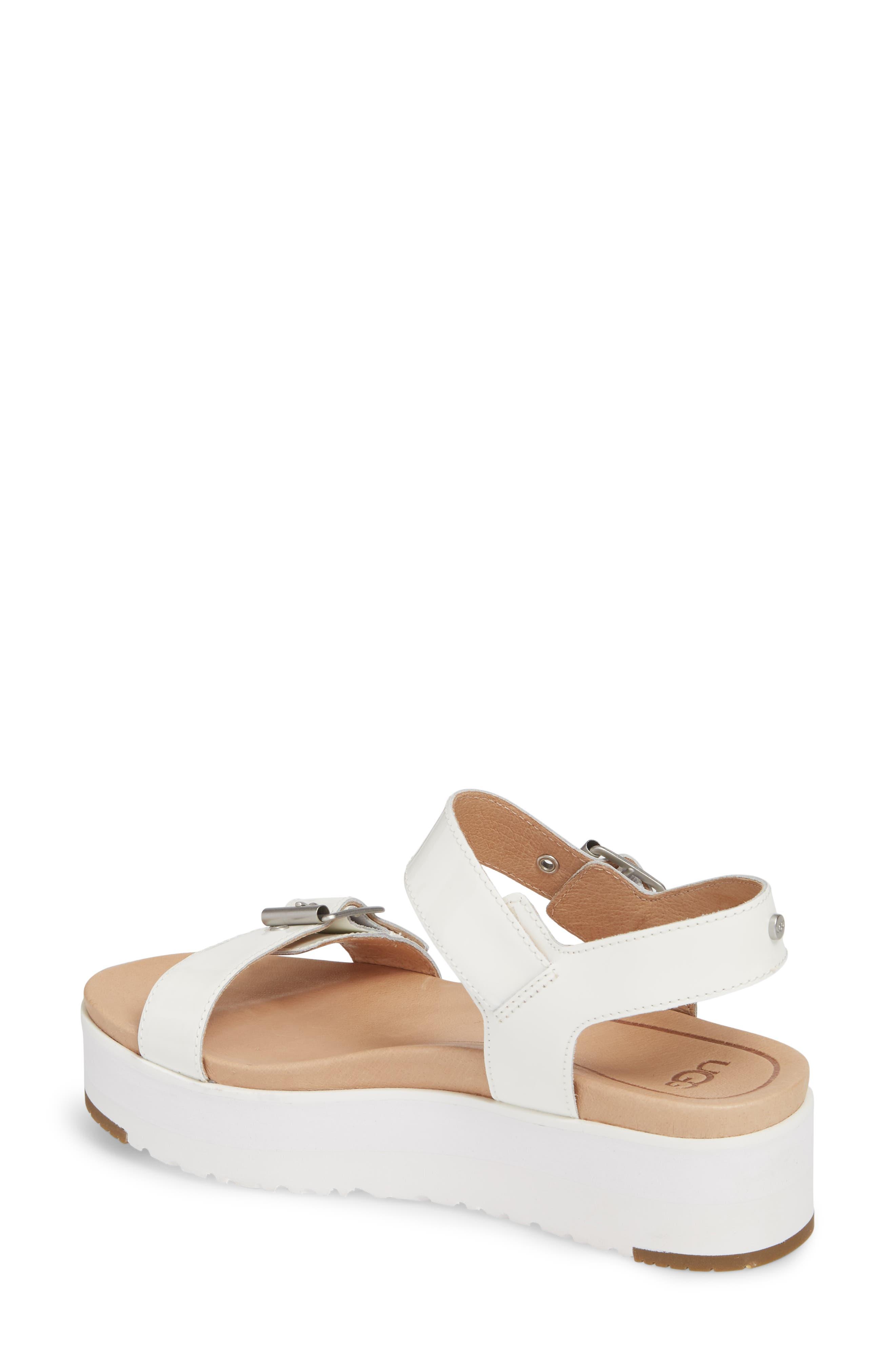 Angie Platform Sandal,                             Alternate thumbnail 2, color,                             White Leather