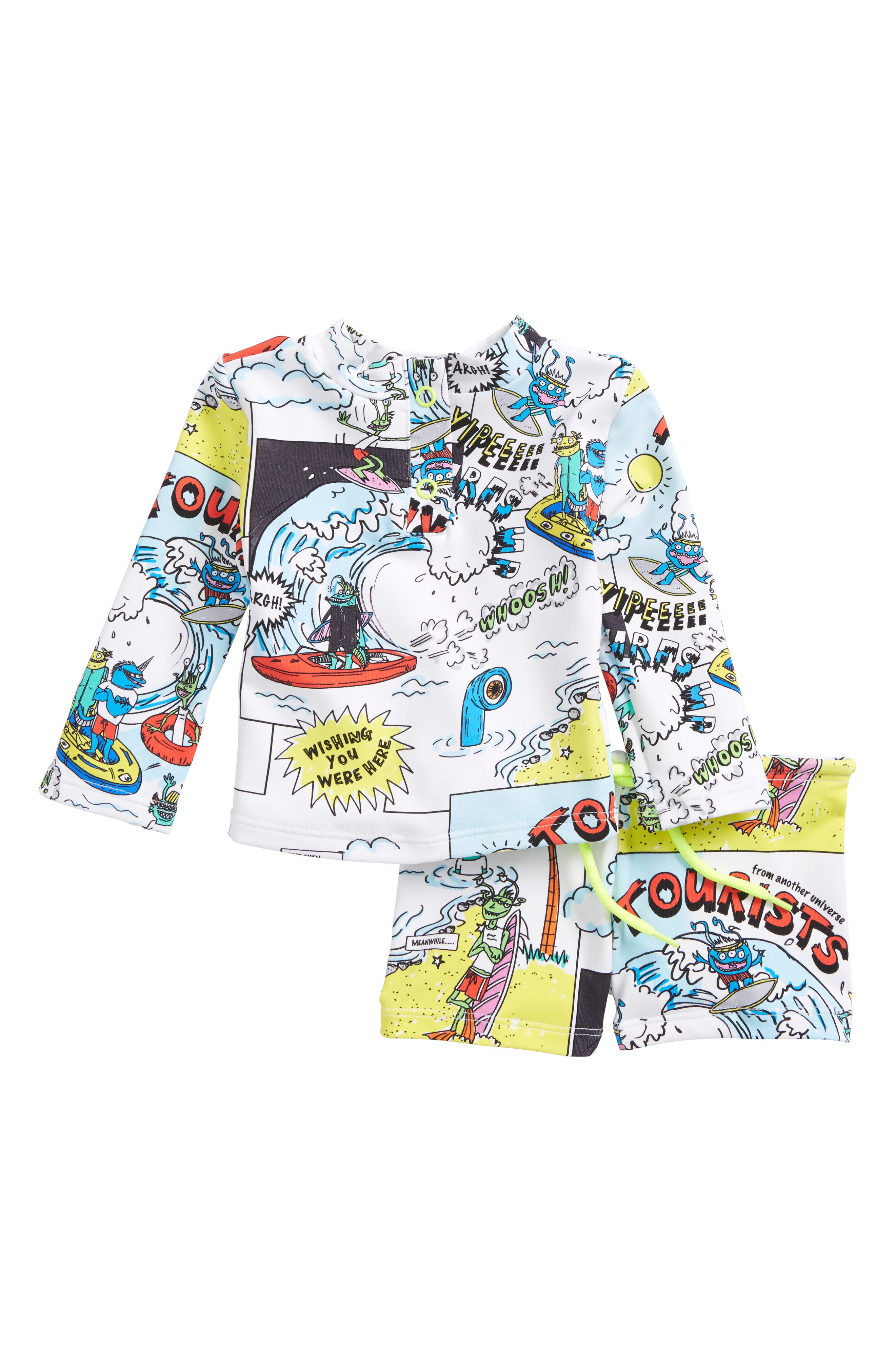 Alternate Image 1 Selected - Stella McCartney Boppers Cartoon Print Two-Piece Rashguard Swimsuit (Baby Boys)