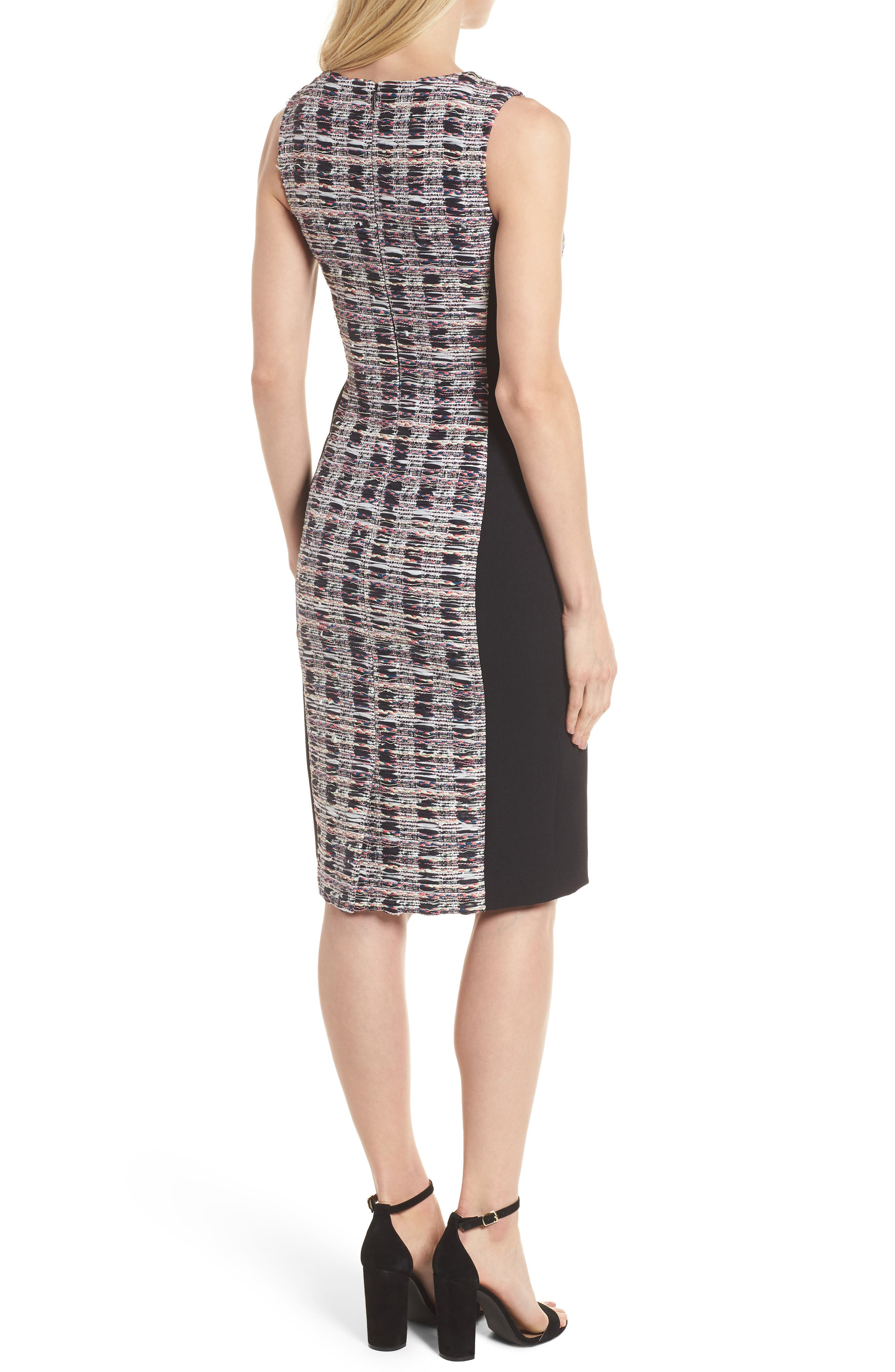 Tweed Mix Body-Con Sheath Dress,                             Alternate thumbnail 2, color,                             Black Opera Tweed
