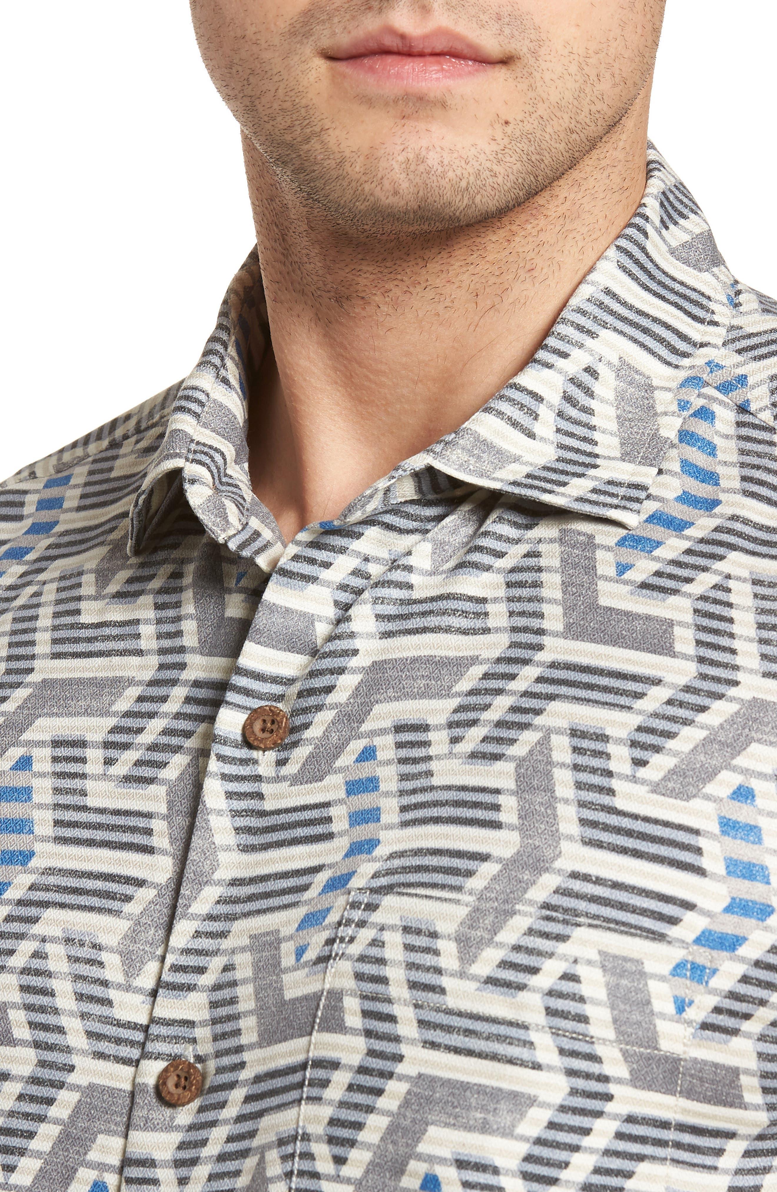 Wellington Geometric Silk Blend Camp Shirt,                             Alternate thumbnail 4, color,                             Fog Grey