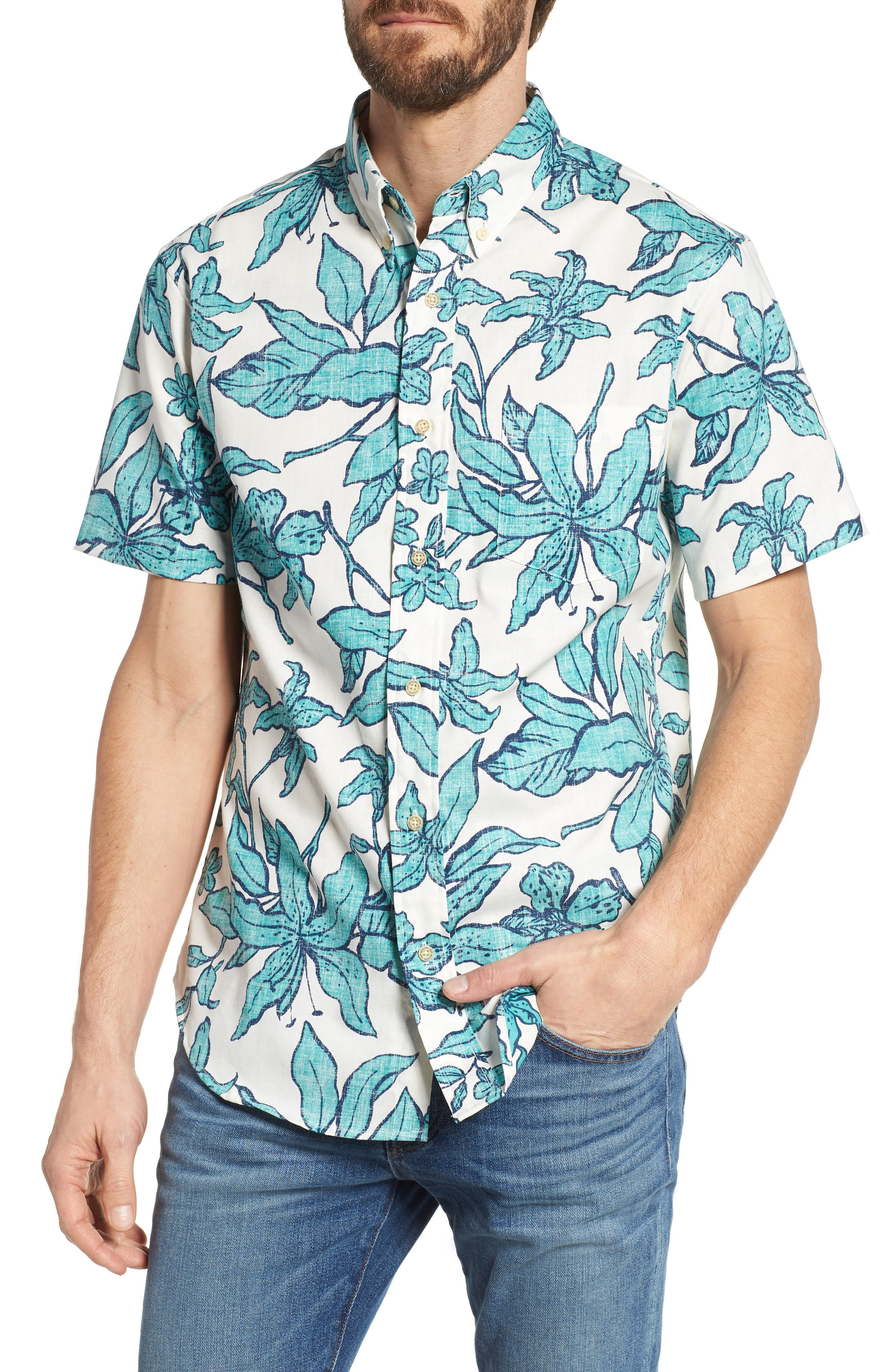 Luhiehu Tailored Fit Print Camp Shirt,                         Main,                         color, Natural