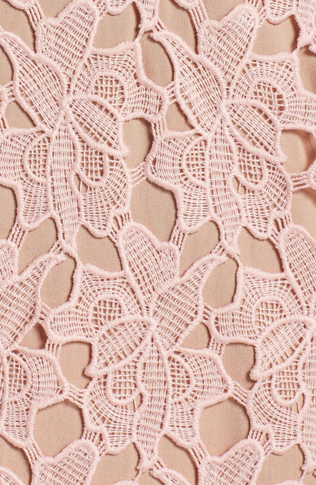 Jessie Lace Pencil Dress,                             Alternate thumbnail 5, color,                             Pink