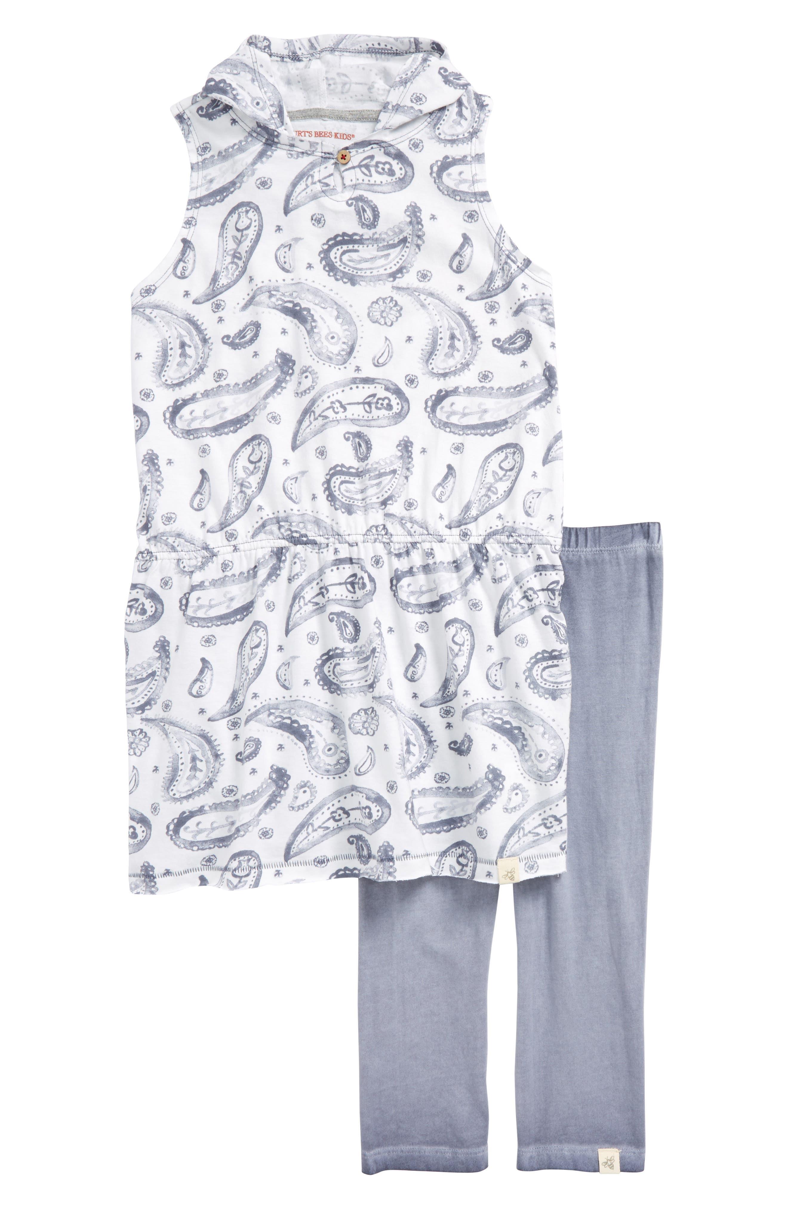 Hooded Tunic & Leggings Set,                         Main,                         color, Prairie Blue
