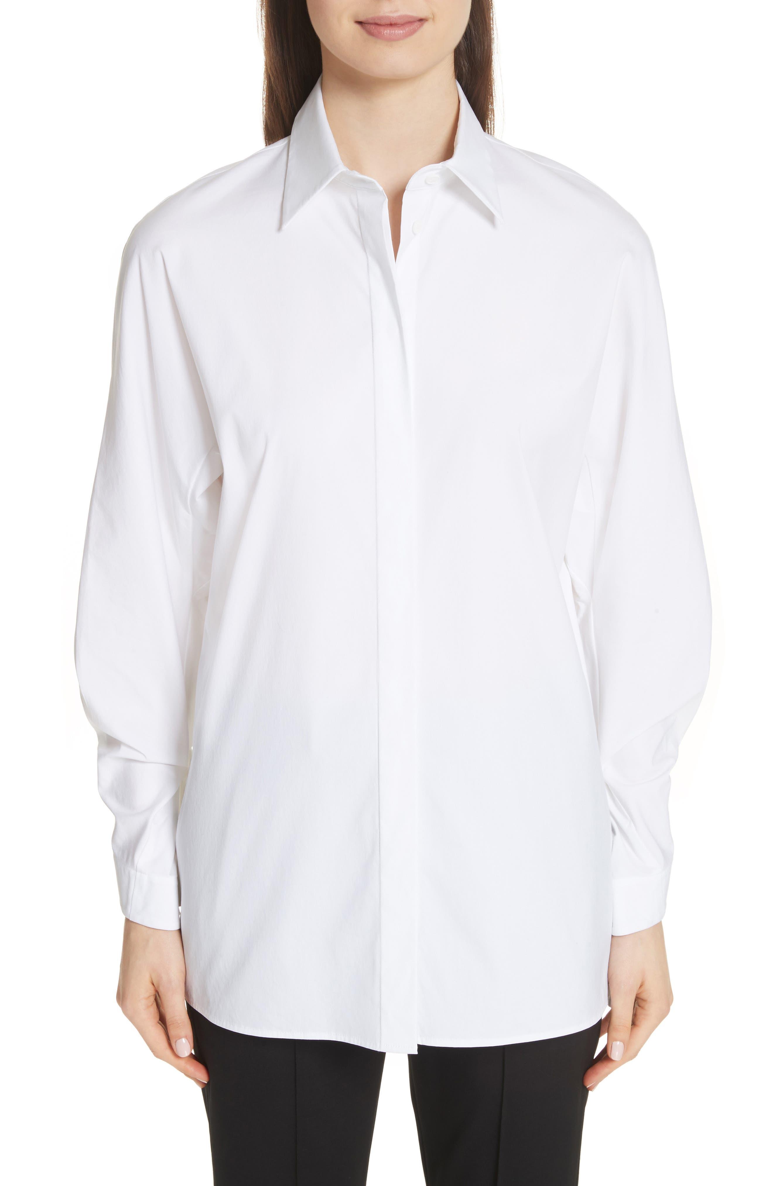 Victoria Cotton Blend Blouse,                         Main,                         color, White