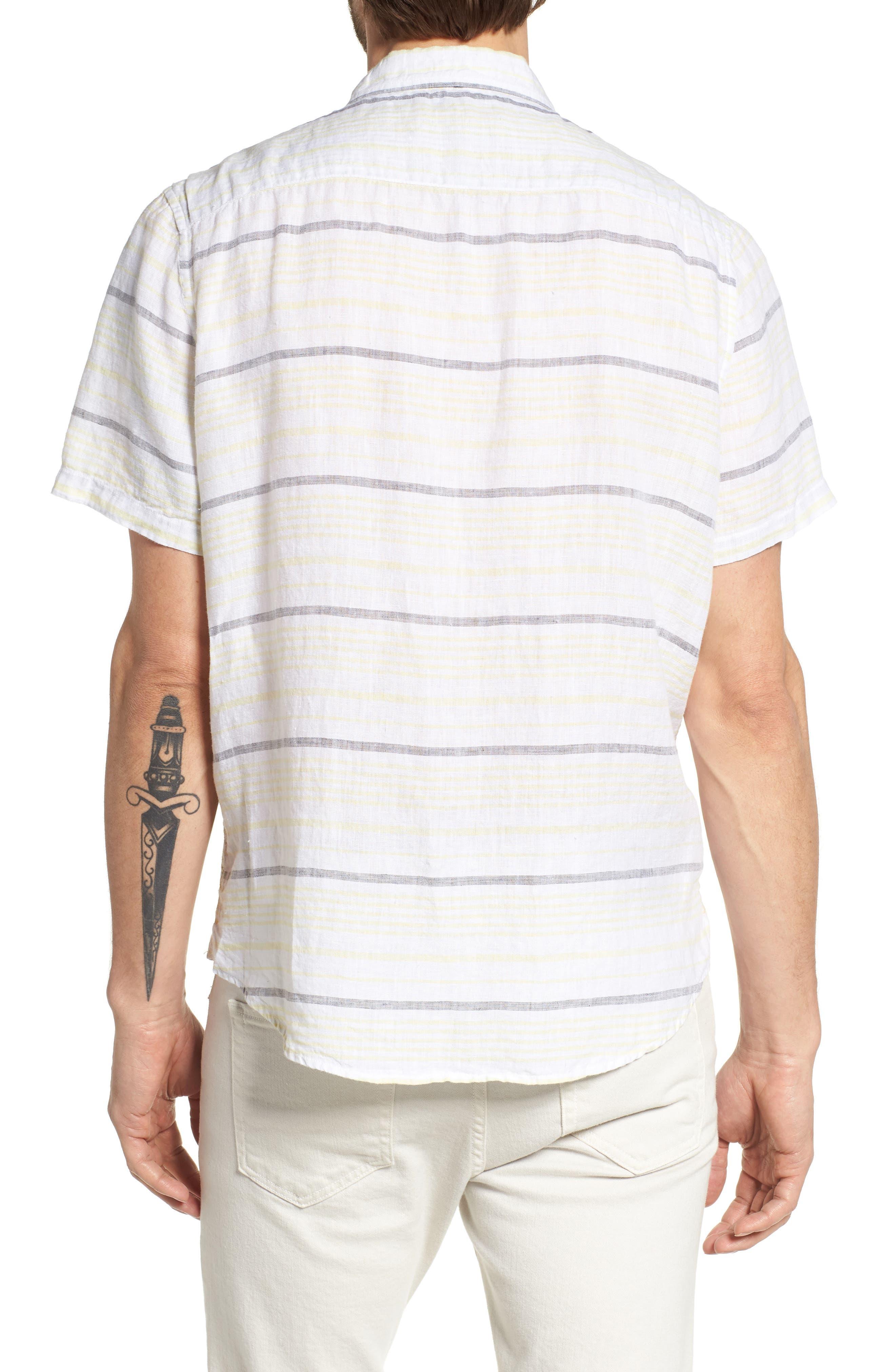 Stripe Linen Sport Shirt,                             Alternate thumbnail 2, color,                             Pale Lemon